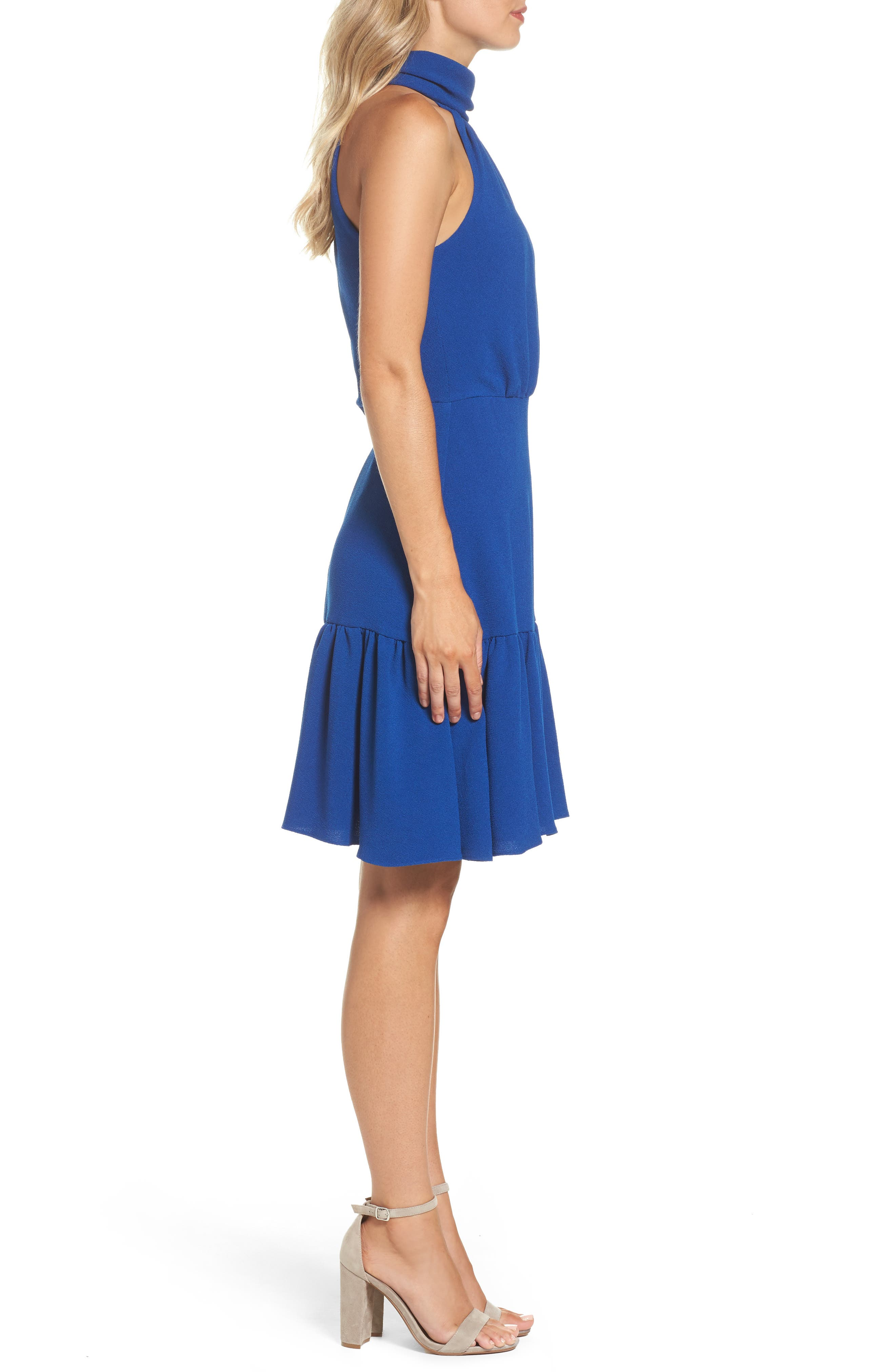 Stretch Crepe Blouson Halter Dress,                             Alternate thumbnail 3, color,                             Ocean