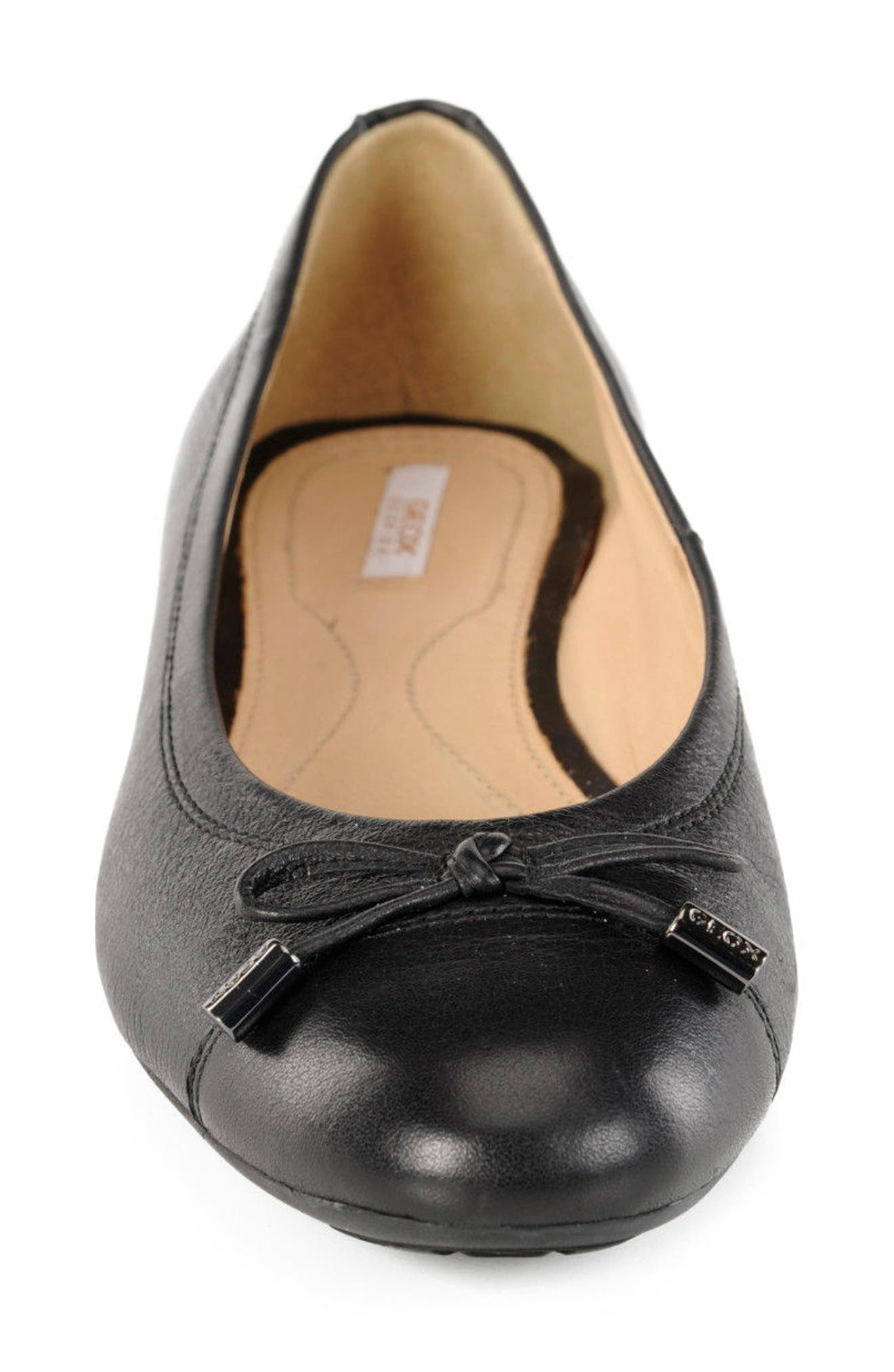 Lola Water Resistant Flat,                             Alternate thumbnail 4, color,                             Black Leather