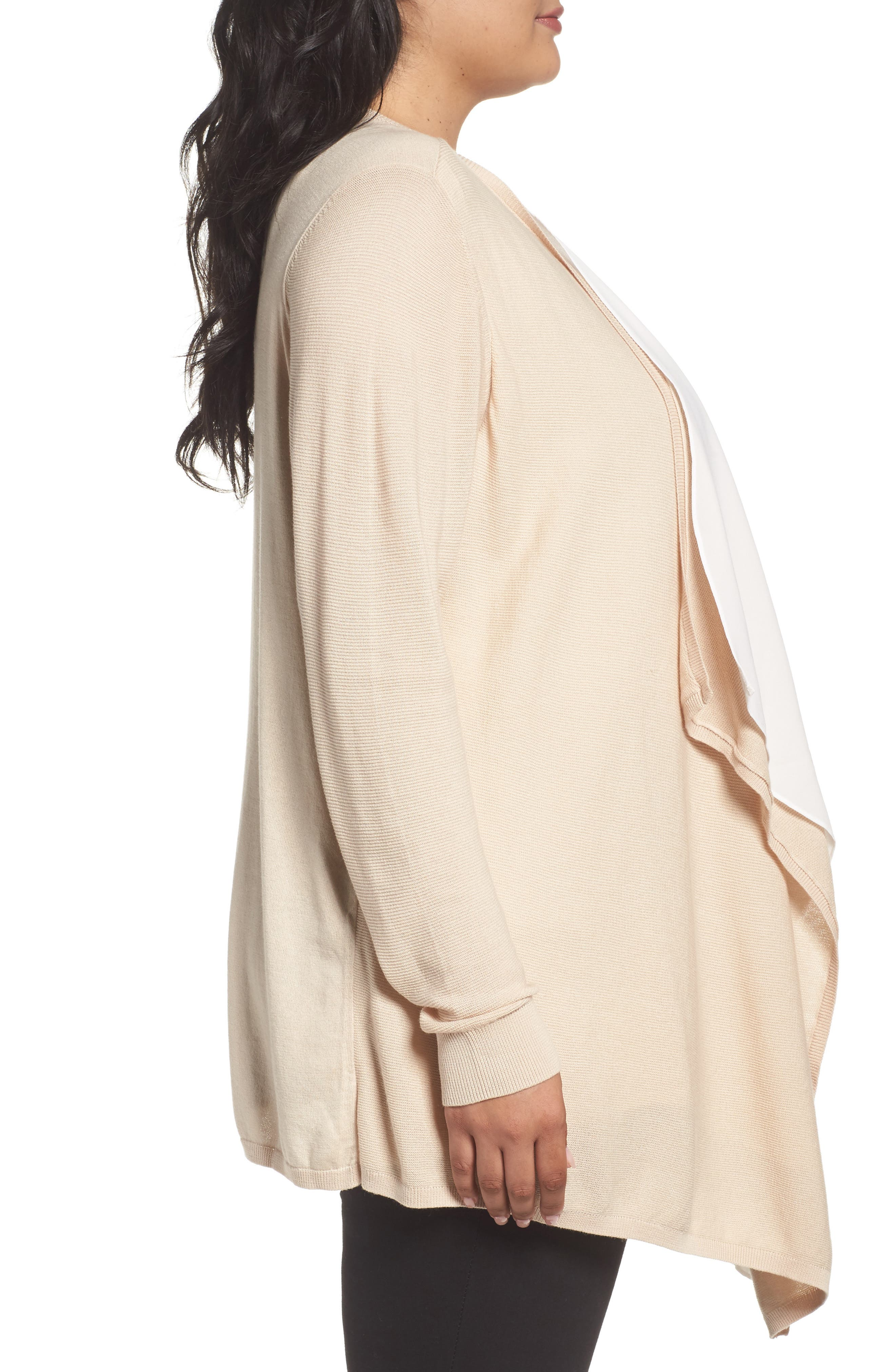 Double Layer Cardigan,                             Alternate thumbnail 3, color,                             Beige Beach- Ivory
