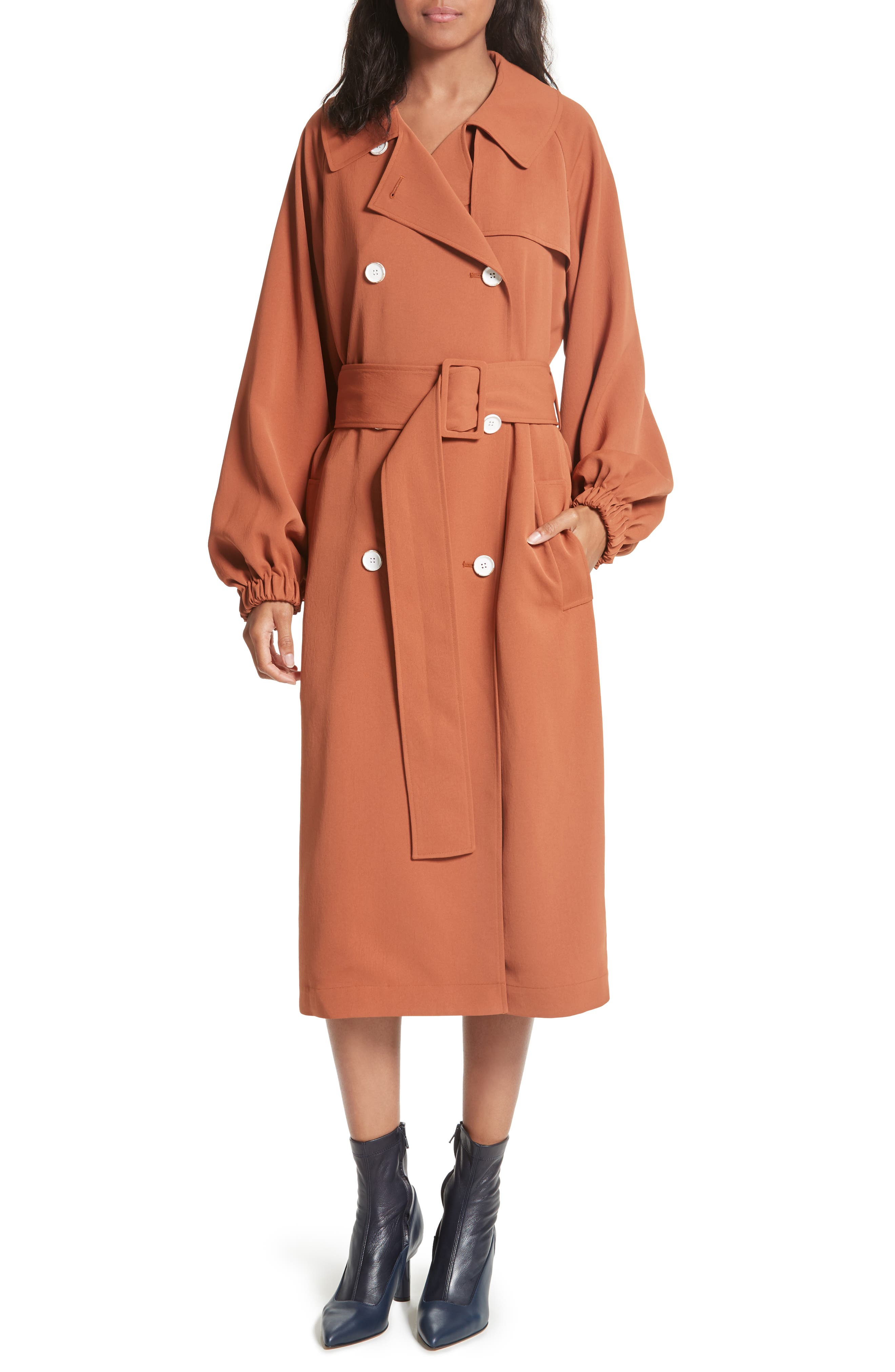 Draped Twill Trench Coat,                         Main,                         color, Rust
