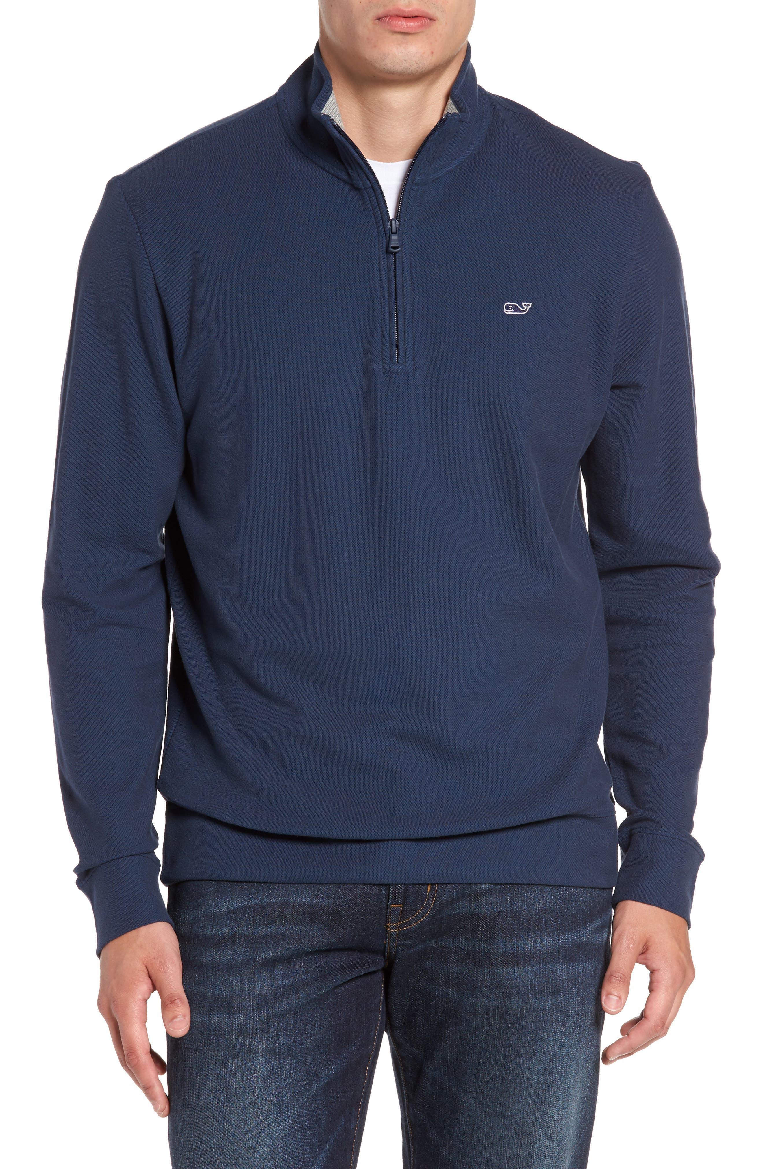 Reverse Oxford Quarter Zip Pullover,                             Main thumbnail 1, color,                             Vineyard Navy