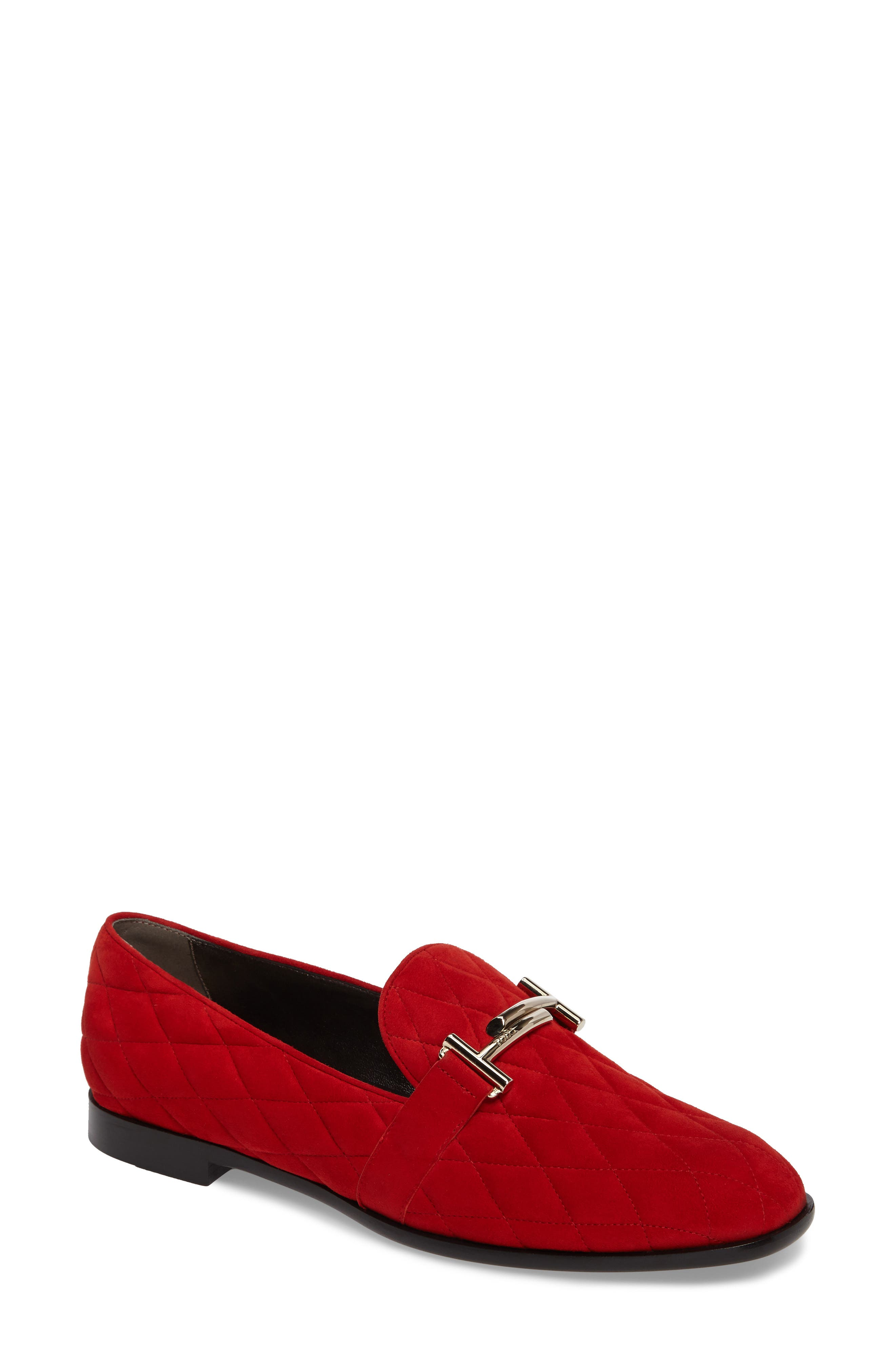 Quilted Double T Loafer,                             Main thumbnail 1, color,                             Red