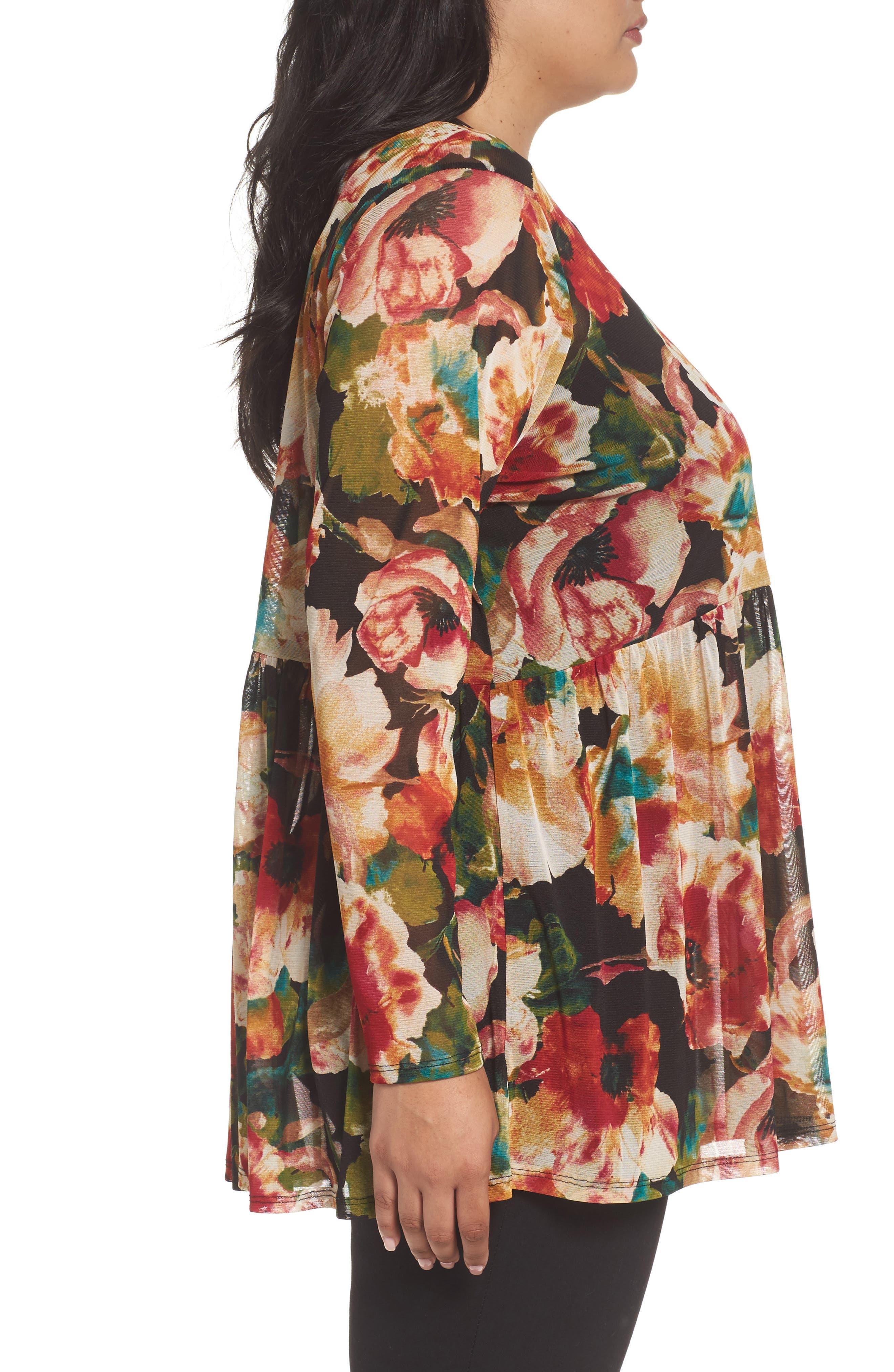 Alternate Image 3  - Sejour Floral Print Mesh Peplum Tunic (Plus Size)