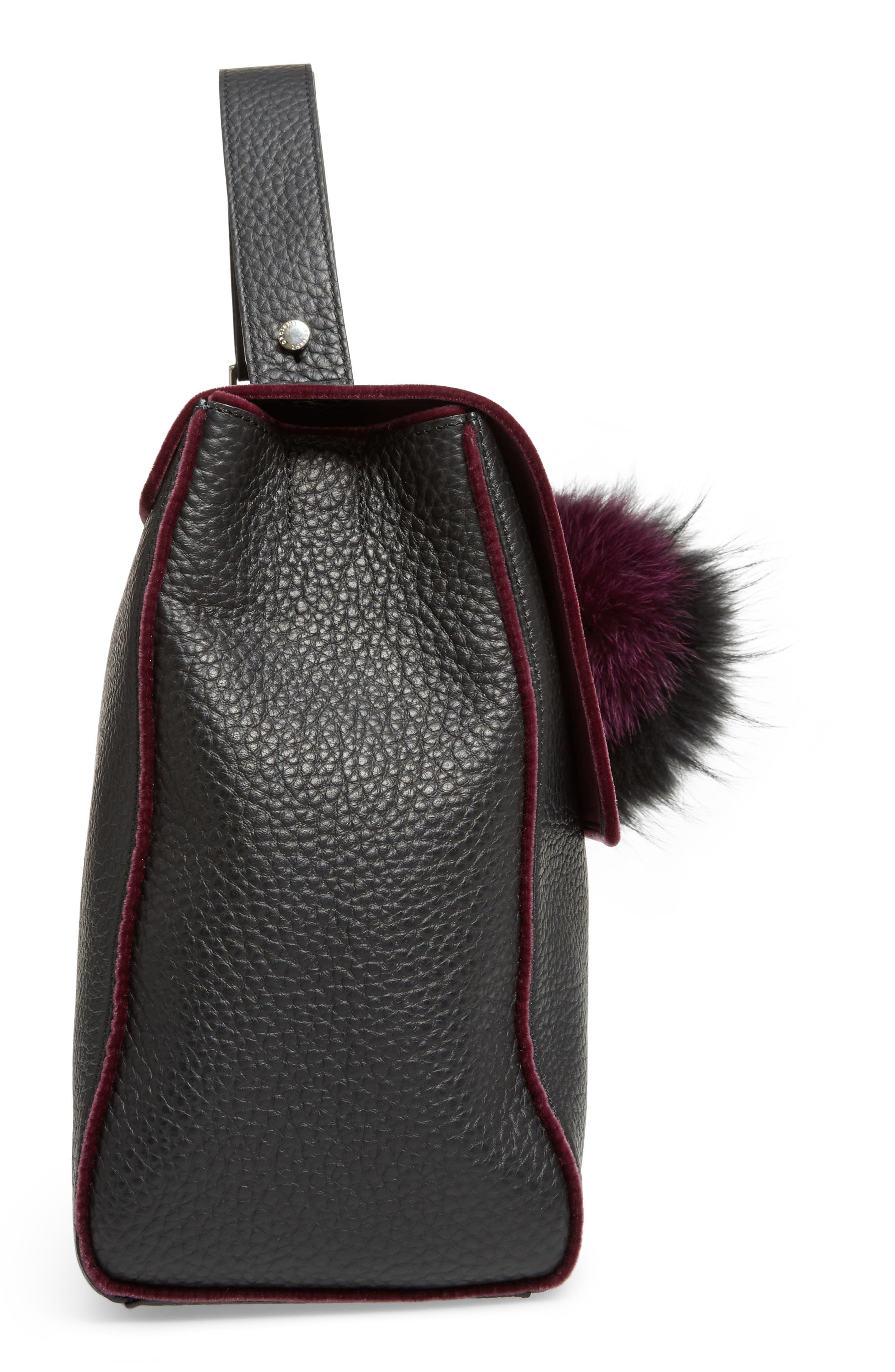 Alternate Image 4  - Orciani Large Sveva Soft Leather Top Handle Satchel with Genuine Fur Bag Charm