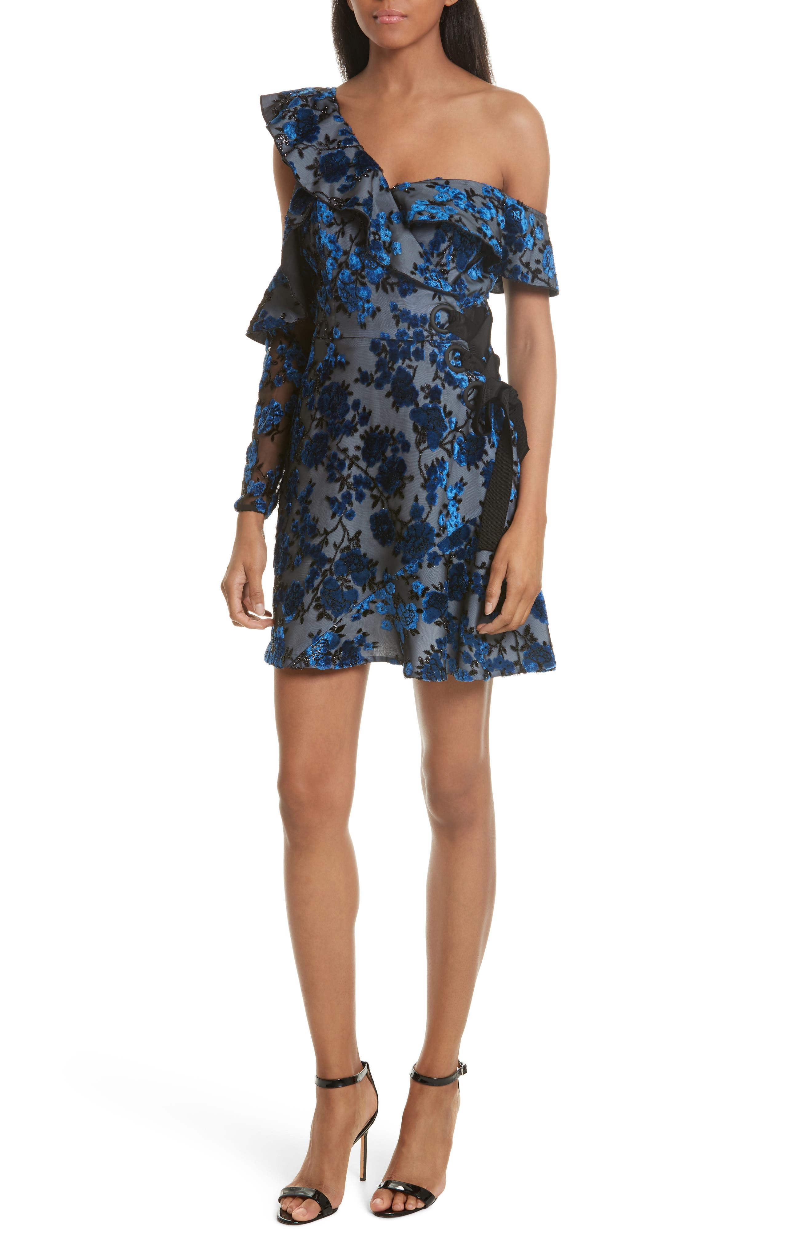 Velvet Devoré Minidress,                         Main,                         color, Blue