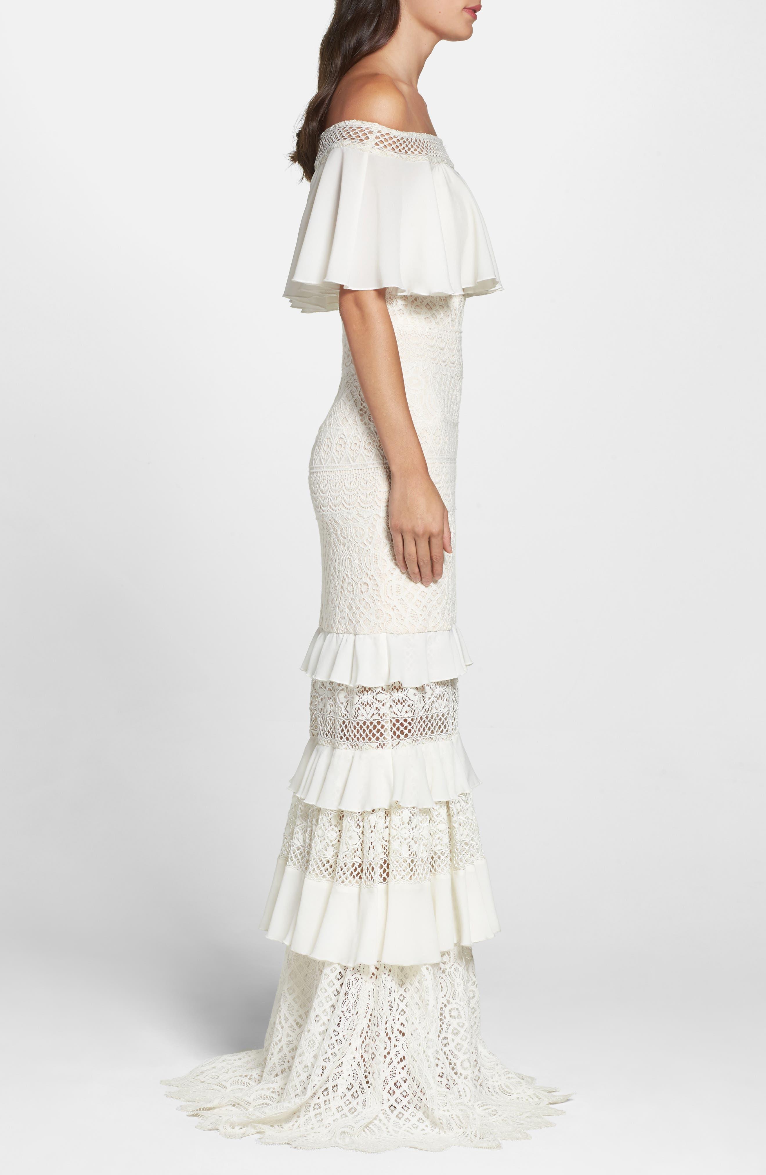 Alternate Image 3  - Tadashi Shoji Off the Shoulder Crochet Gown