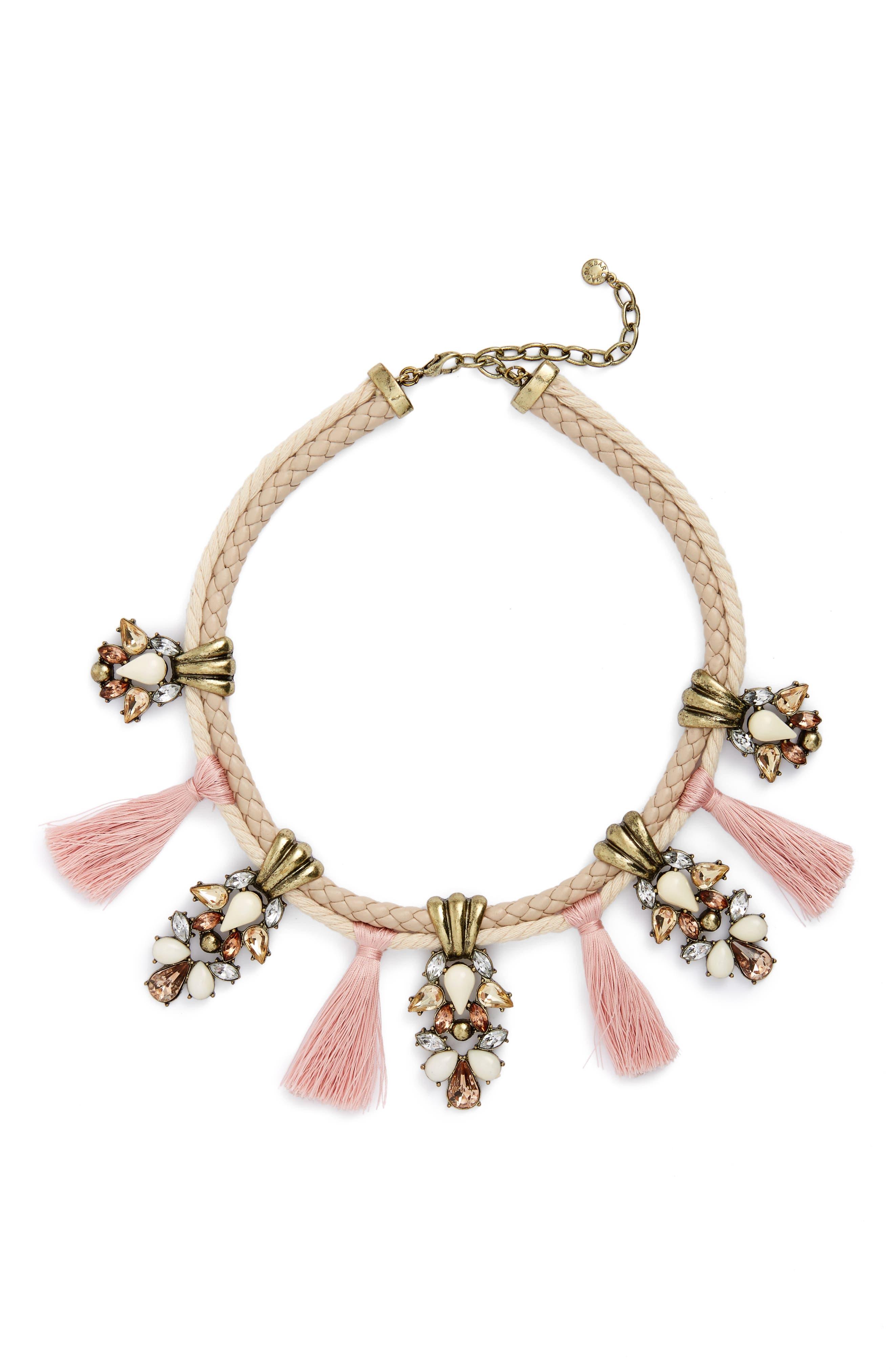 Repunzel Collar Necklace,                             Main thumbnail 1, color,                             Pink