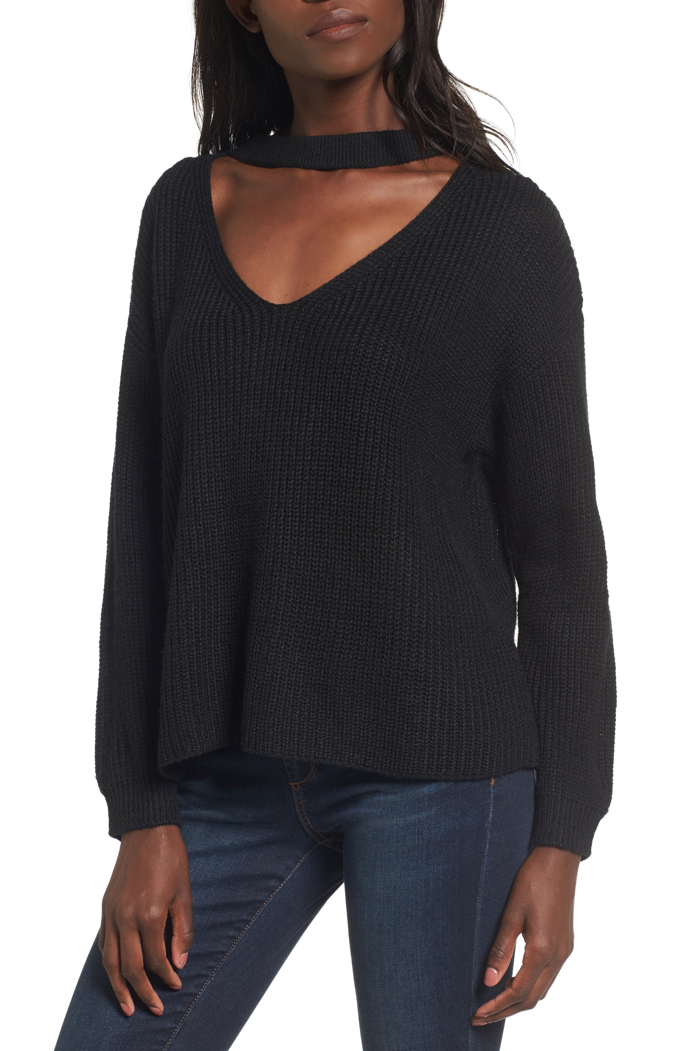Madison Cutout Sweater,                         Main,                         color, Black