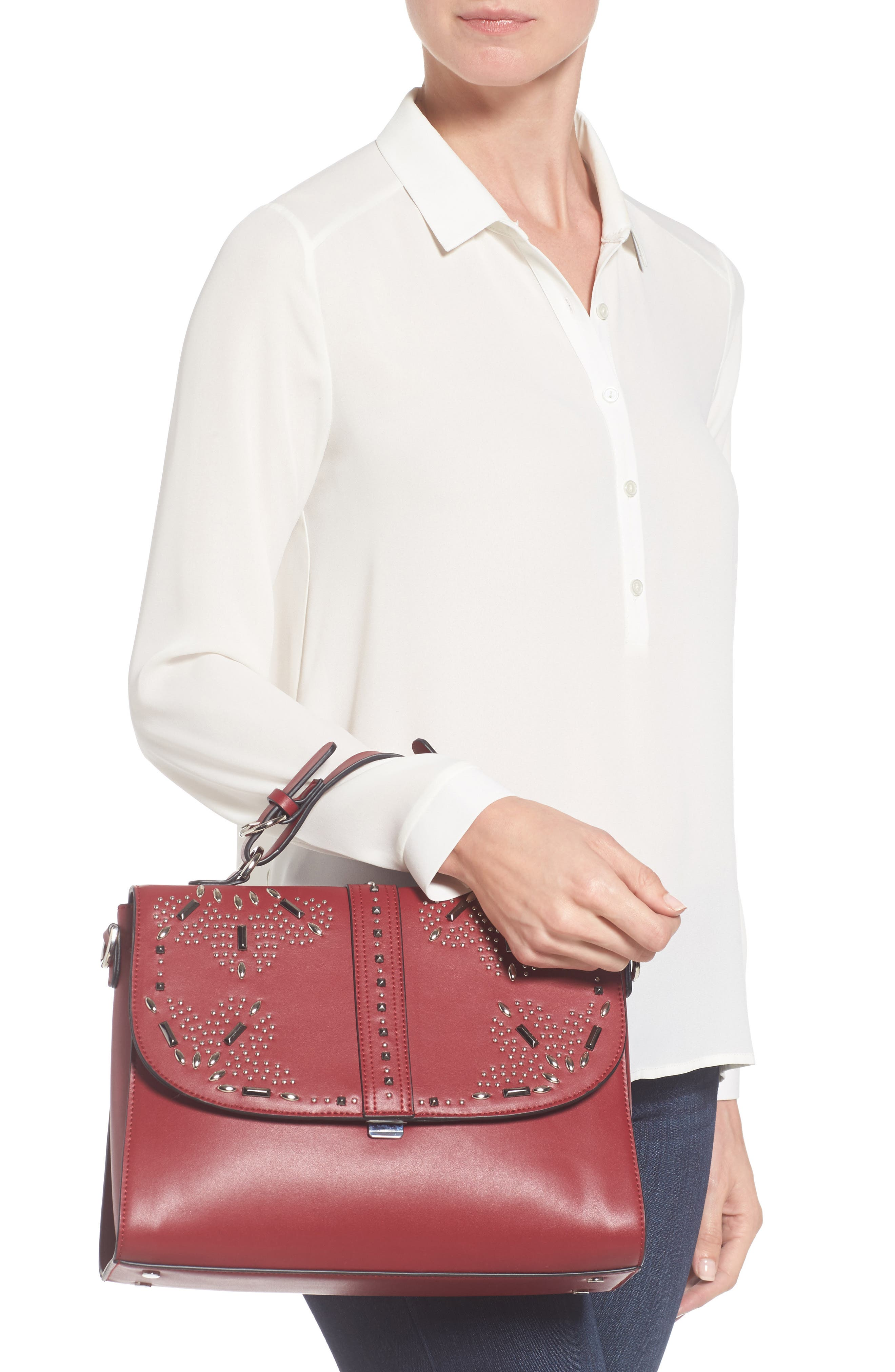 Blair Embellished Faux Leather Top Handle Satchel,                             Alternate thumbnail 2, color,                             Red Cerise