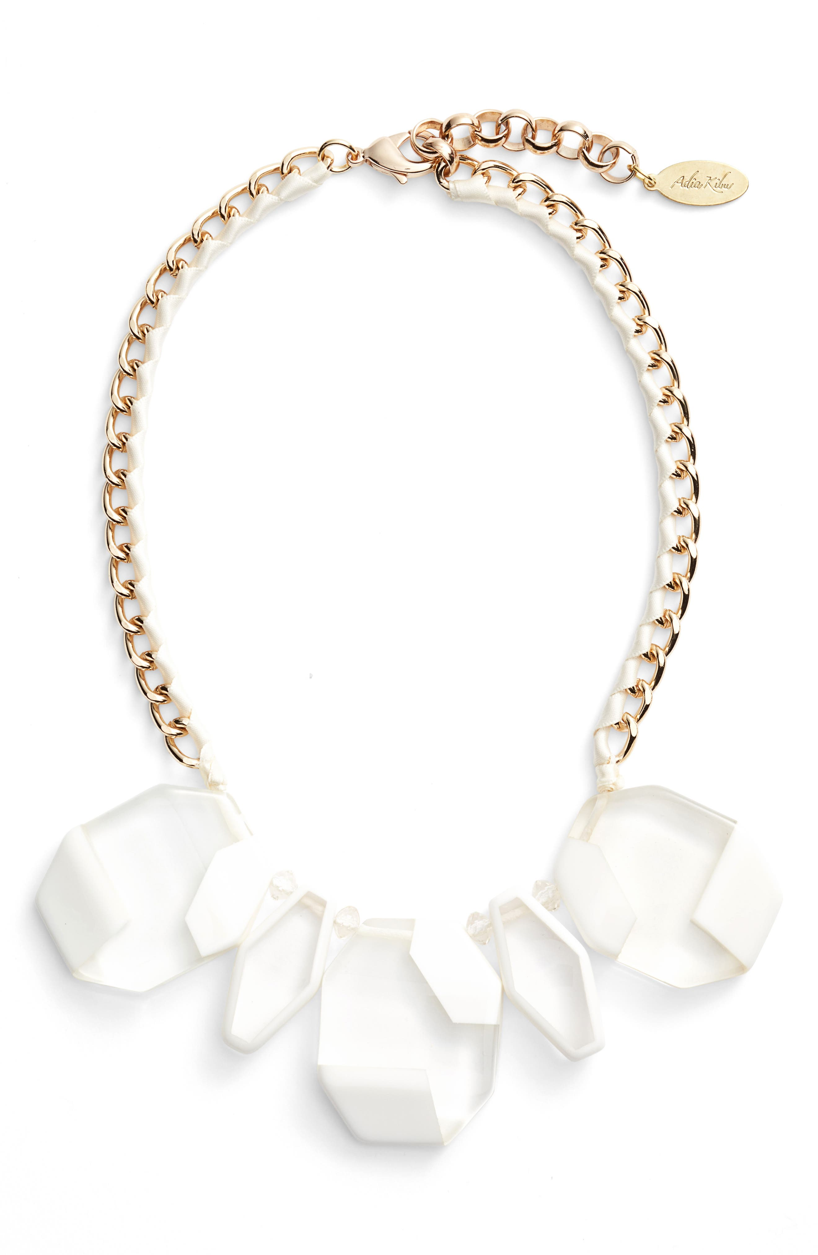 Resin Statement Necklace,                         Main,                         color, White/ Clear