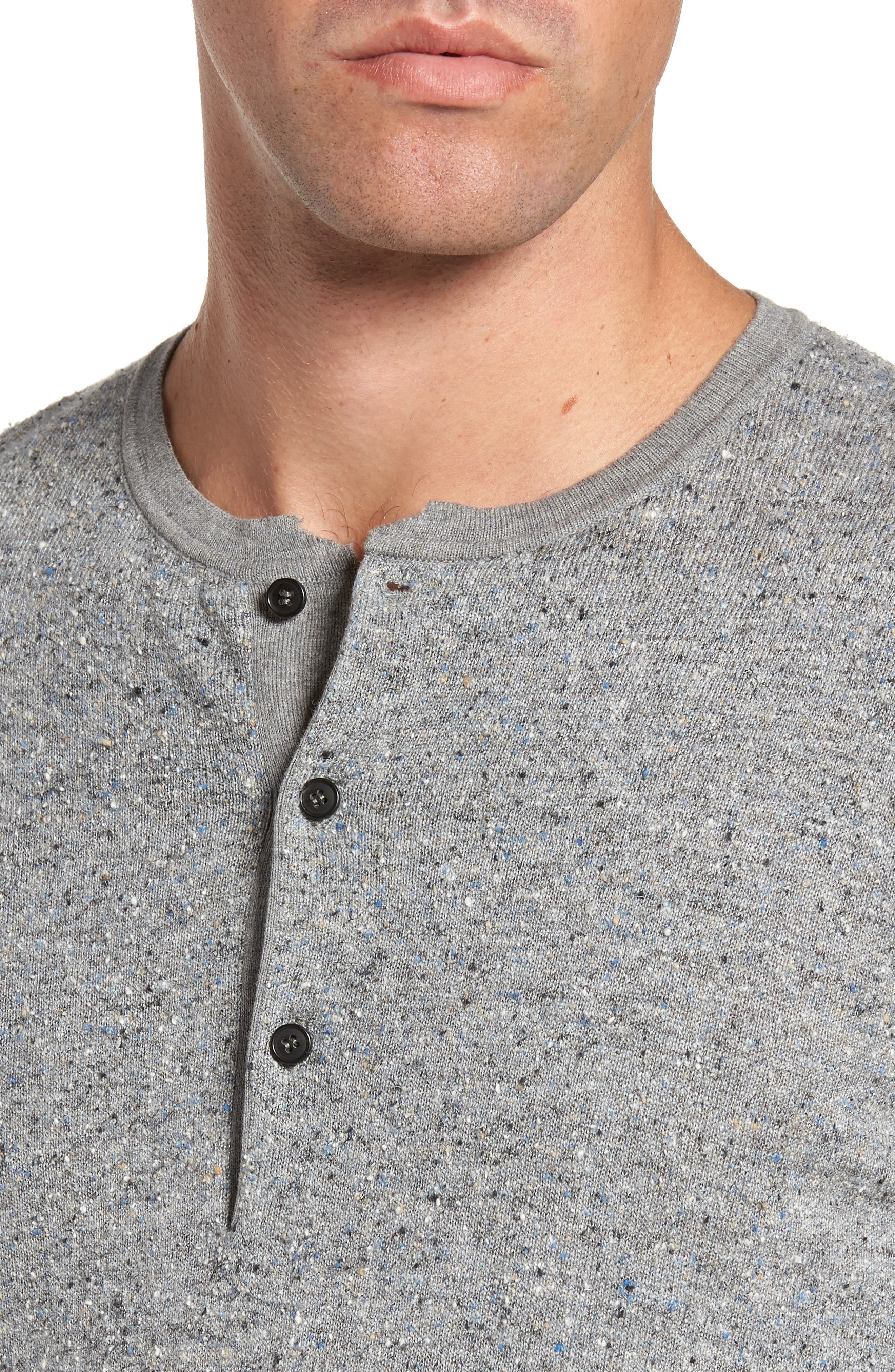 Speckled Henley Sweater,                             Alternate thumbnail 4, color,                             Grey Mix