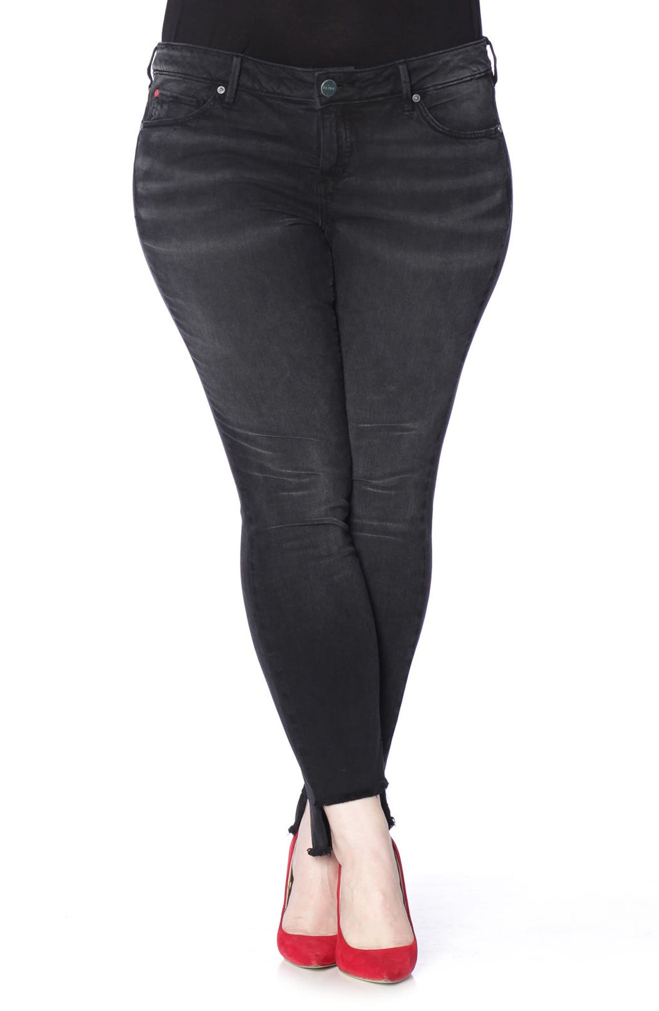 Alternate Image 4  - SLINK Jeans Step Hem Stretch Skinny Jeans (Mimi) (Plus Size)