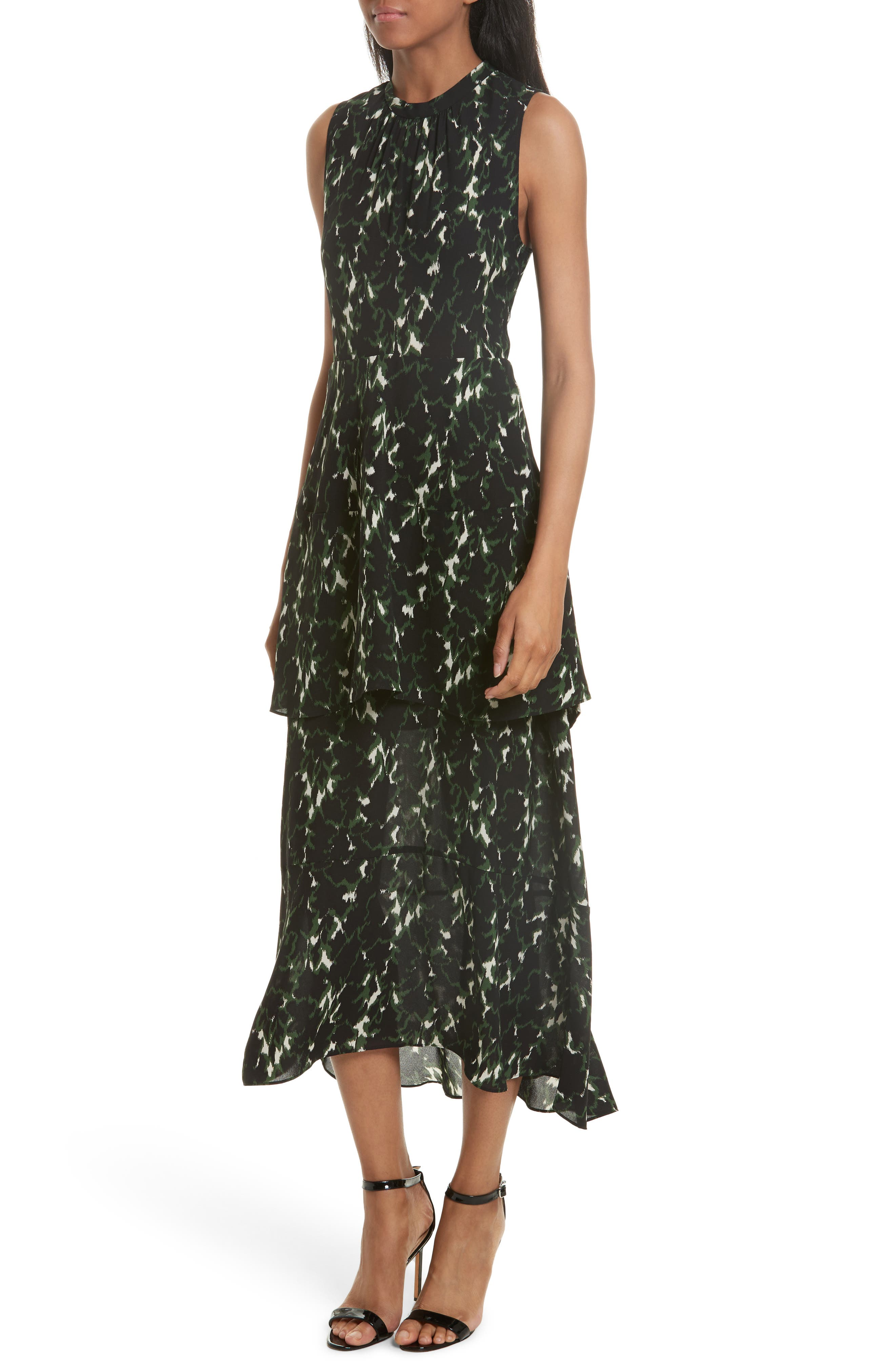 Wylon Print Silk Dress,                         Main,                         color, Forest/ Eggshell