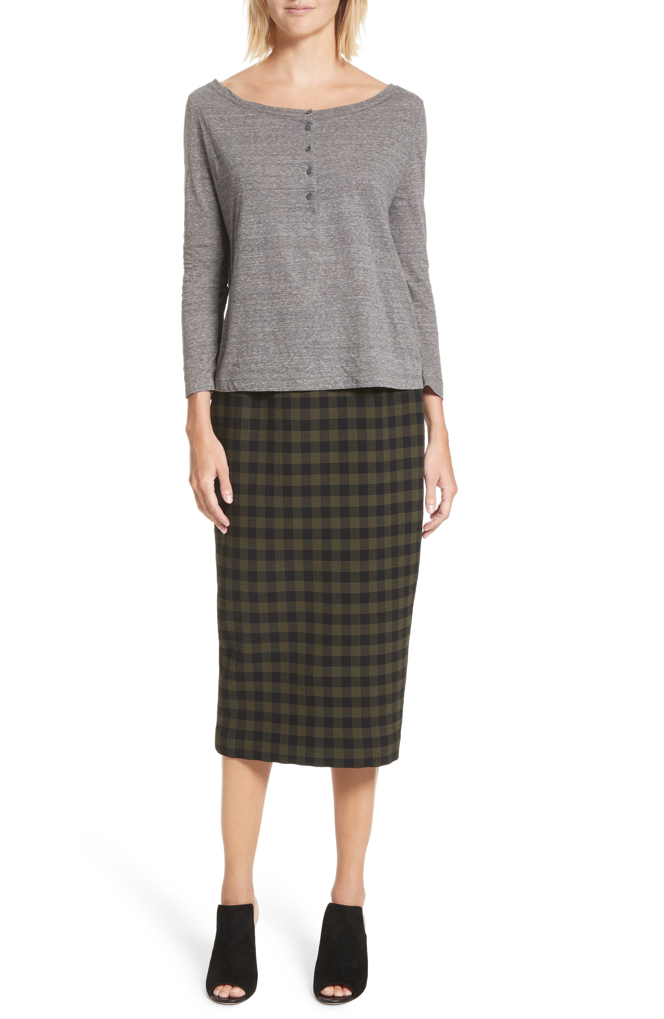 Thea Plaid Wool Pencil Skirt,                             Alternate thumbnail 8, color,                             Army/ Black