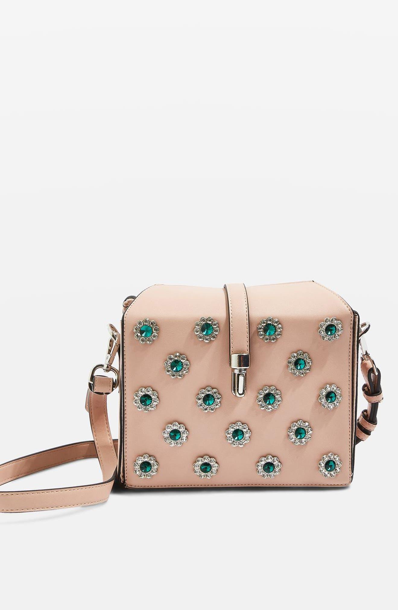 Topshop Bertie Embellished Boxy Crossbody Bag