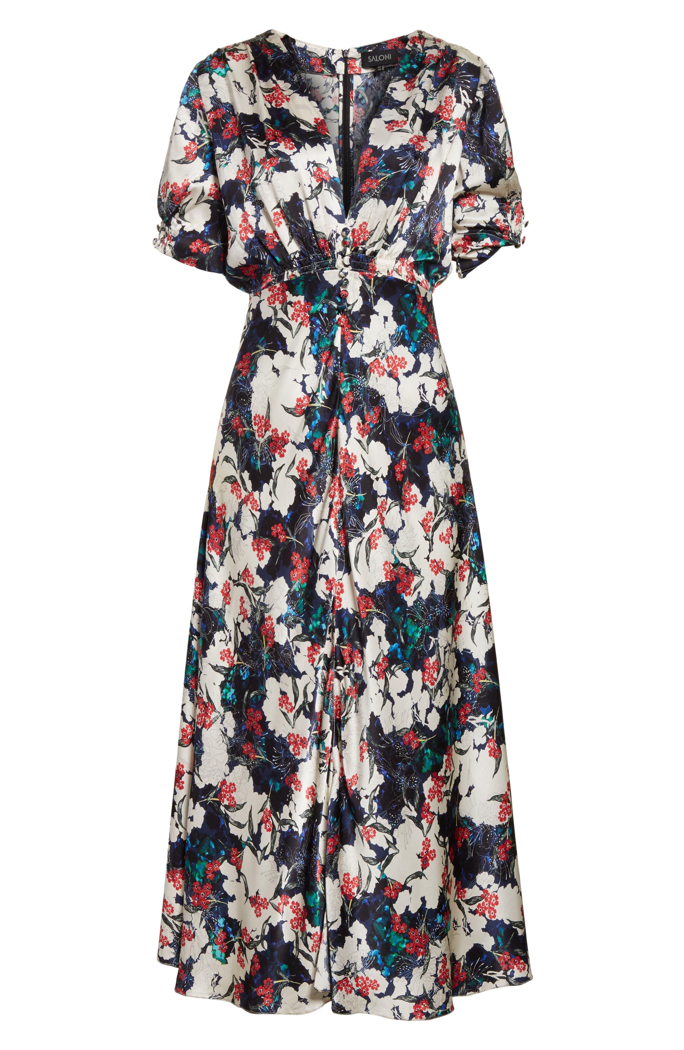 Alternate Image 6  - SALONI Lea Silk Midi Dress
