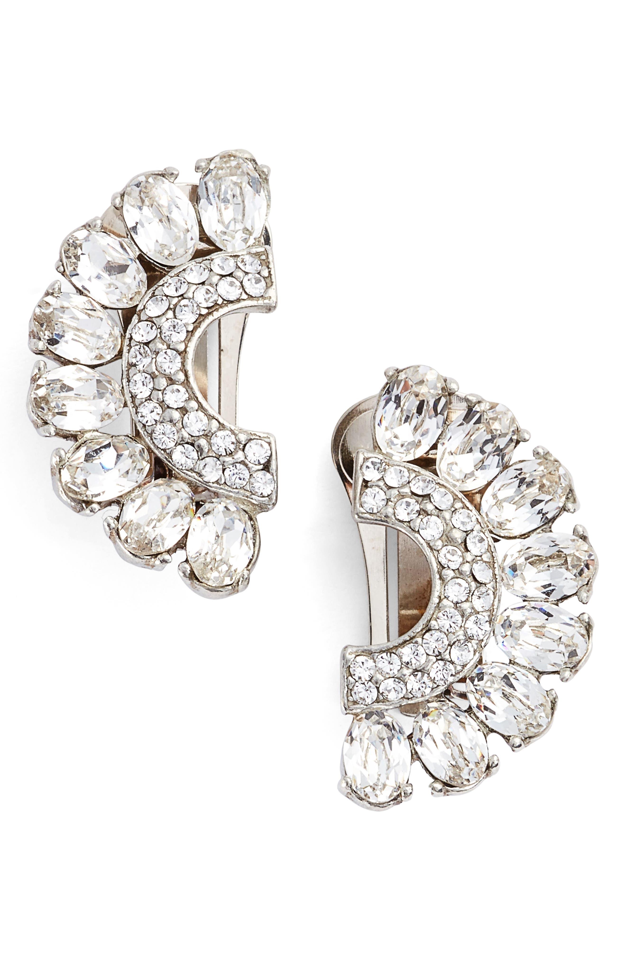 Half Moon Clip Earrings,                             Main thumbnail 1, color,                             Silver