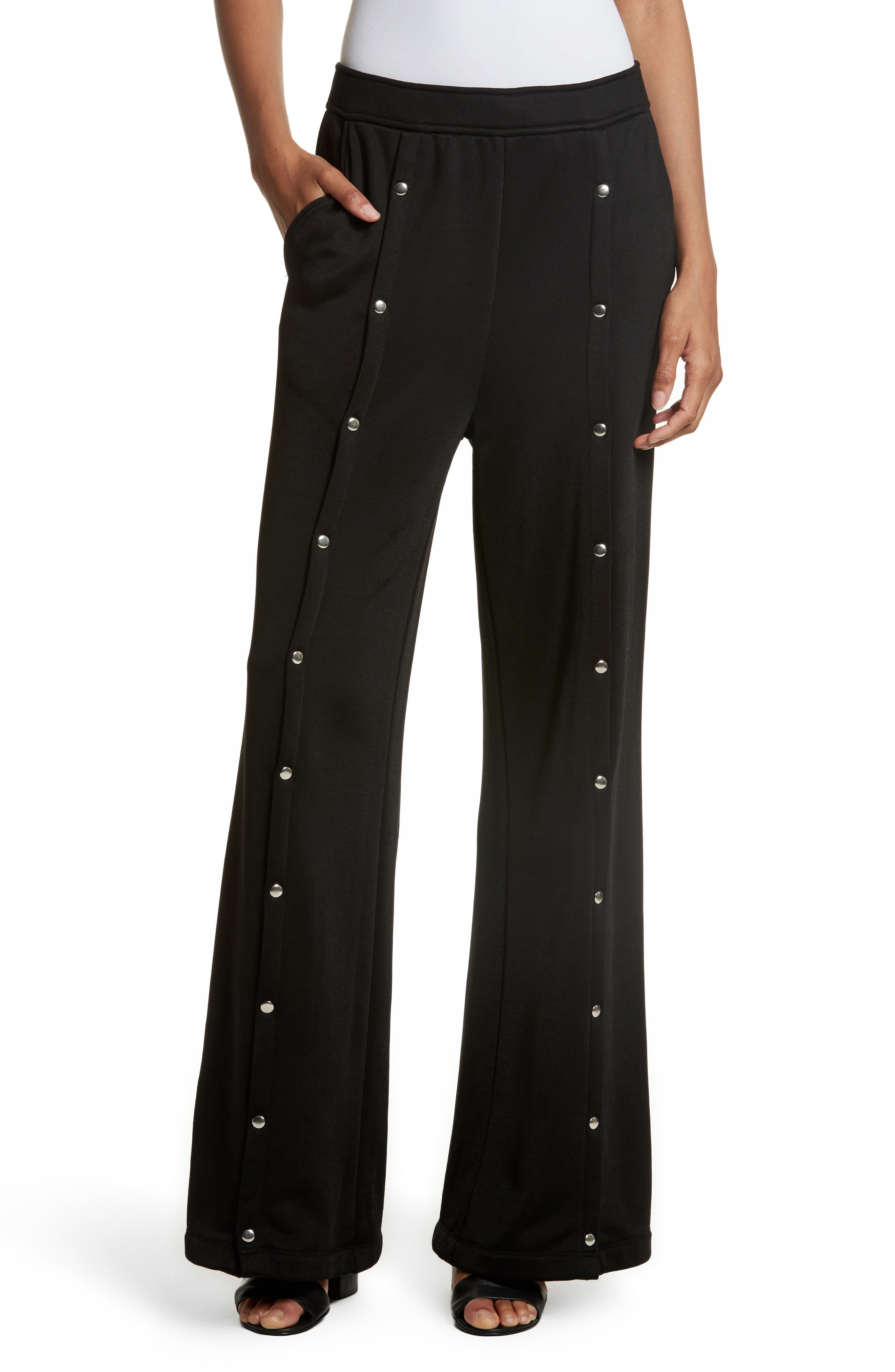 French Terry Wide Leg Pants,                         Main,                         color, Black