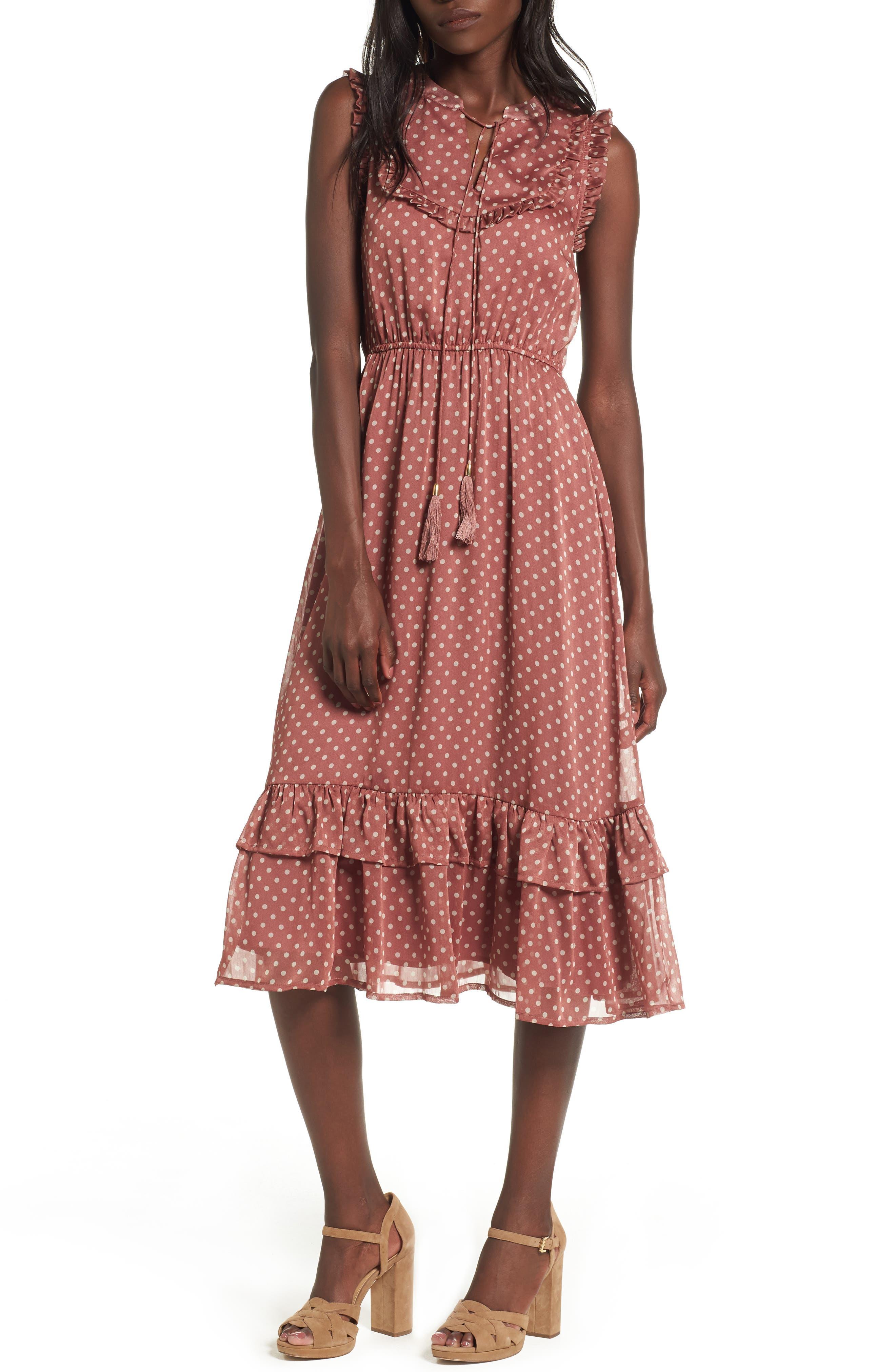 Ruffle Midi Dress,                         Main,                         color, Dusty Mauve
