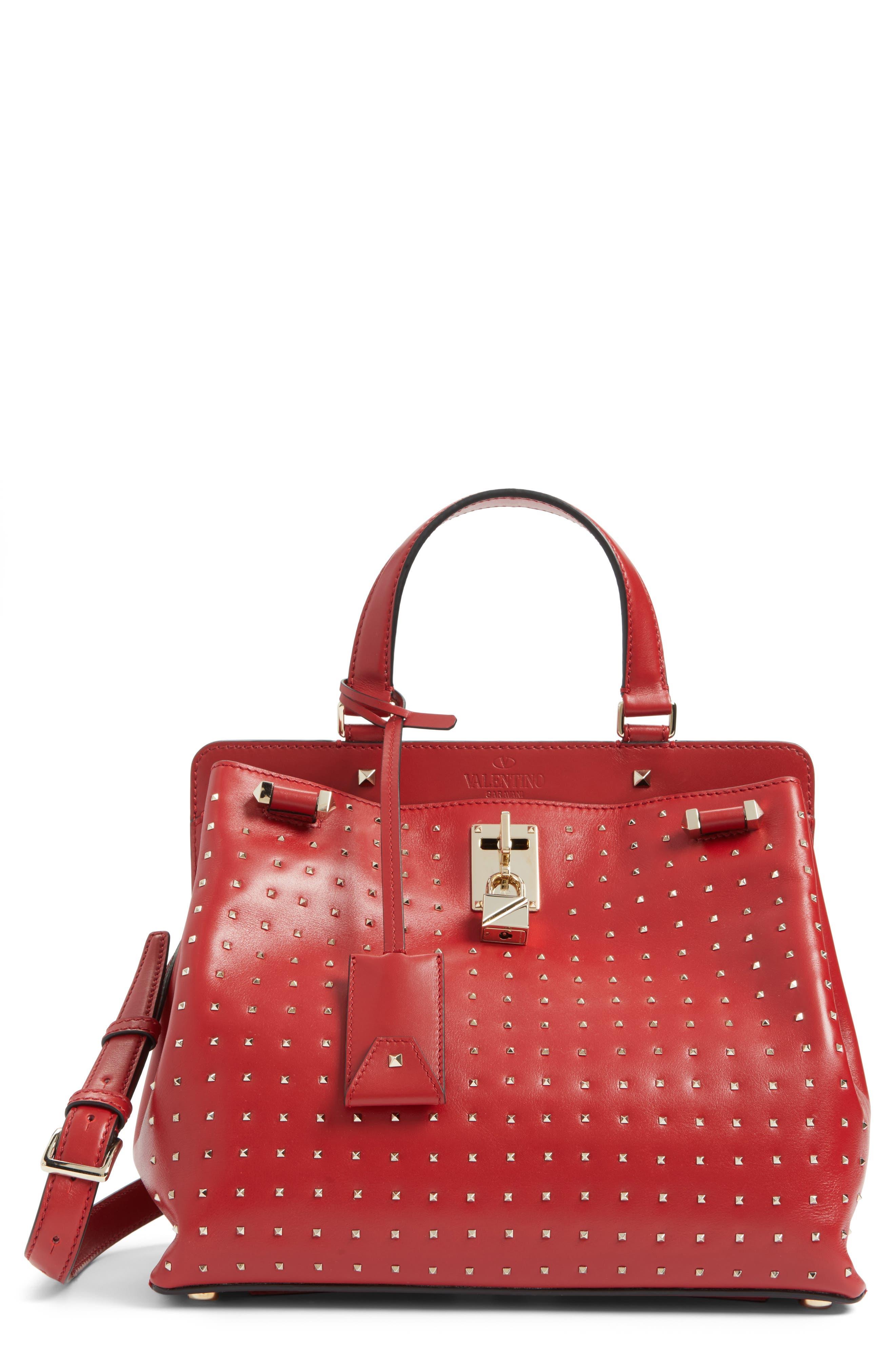 VALENTINO GARAVANI Medium Pieper Studded Leather Satchel