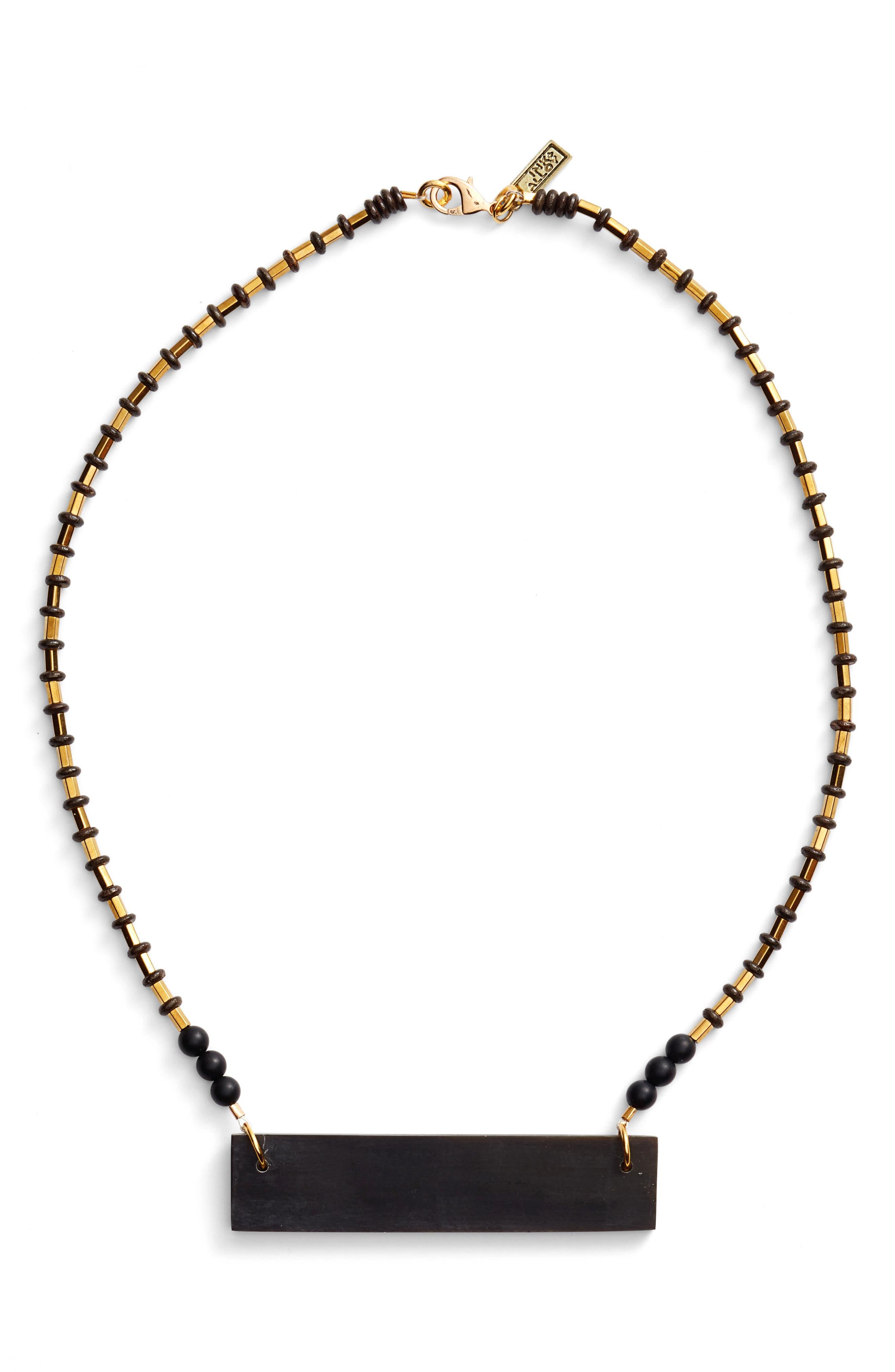 Hathorn Horn Pendant Necklace,                             Main thumbnail 1, color,                             Black