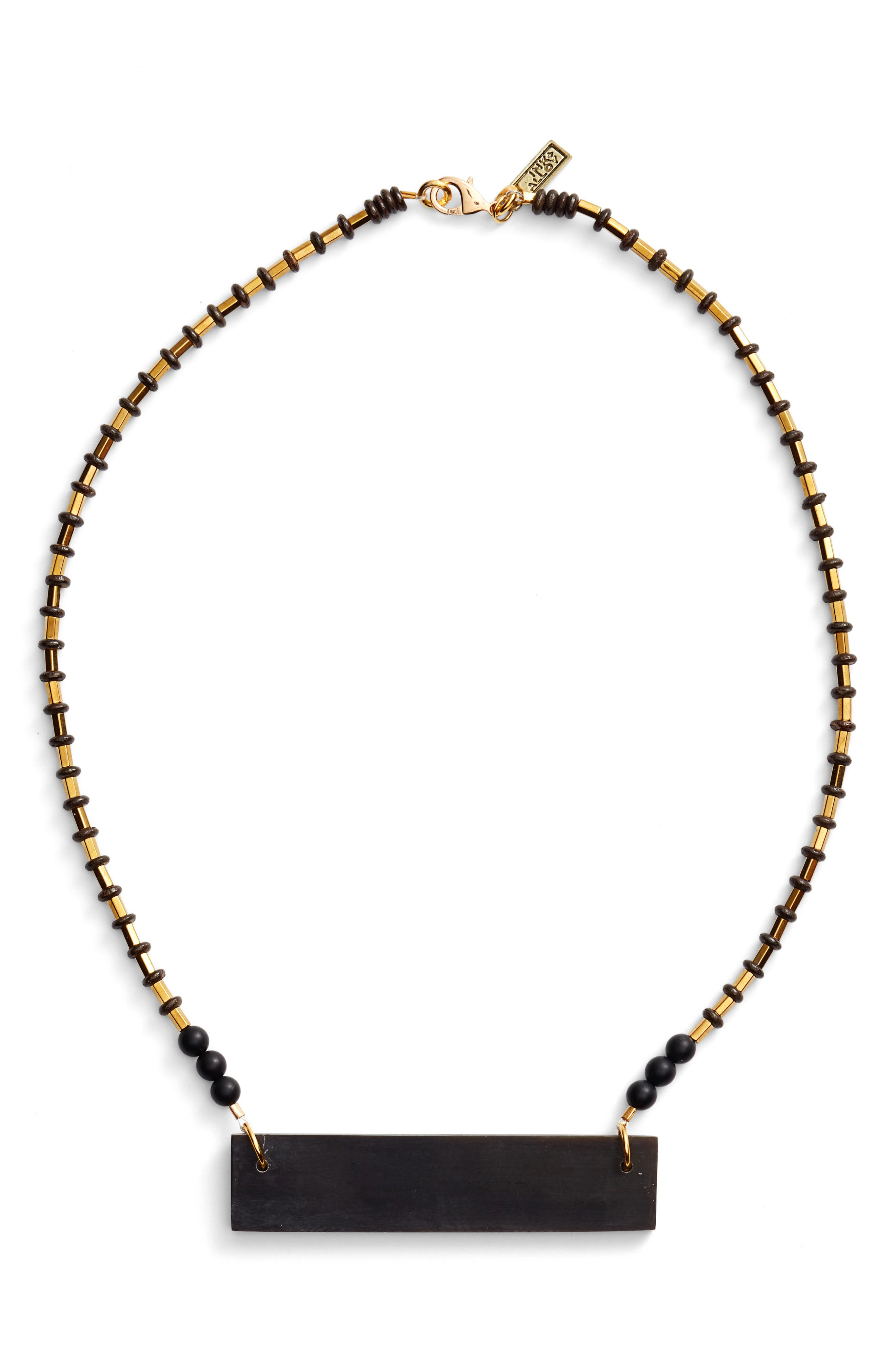 Hathorn Horn Pendant Necklace,                         Main,                         color, Black