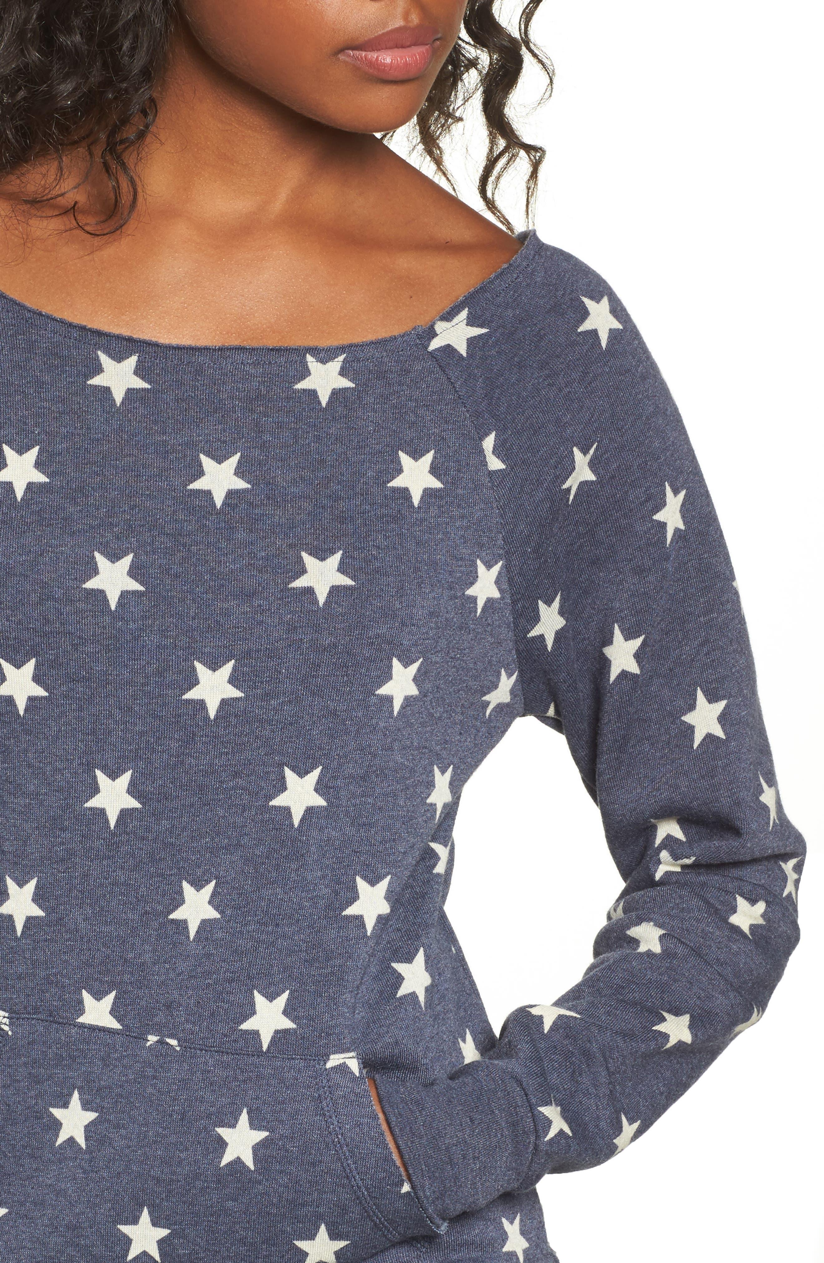 Maniac Camo Fleece Sweatshirt,                             Alternate thumbnail 4, color,                             Stars