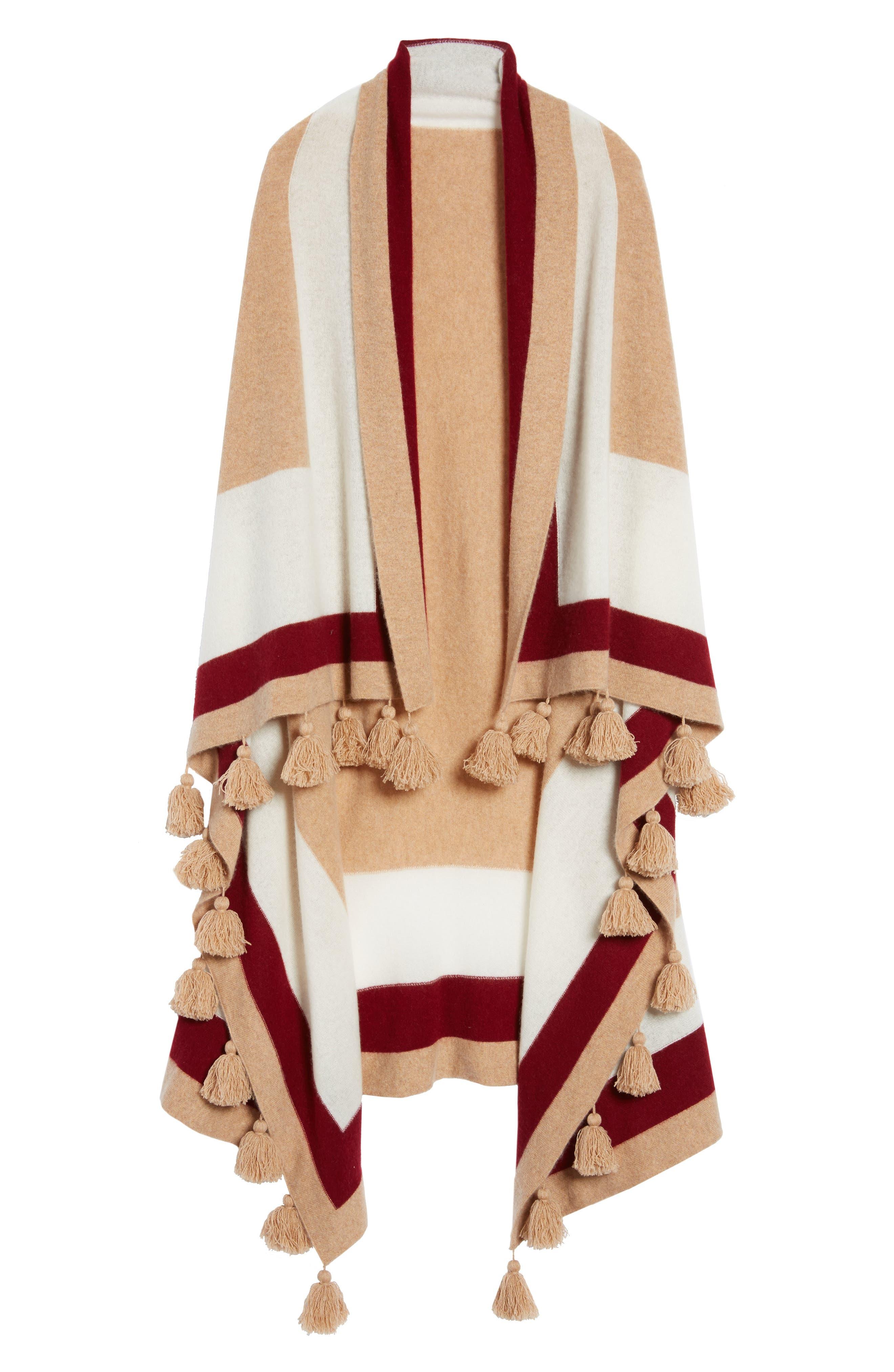 Tassel Trim Cashmere Wrap,                             Alternate thumbnail 6, color,                             Tan Camel Heather Combo
