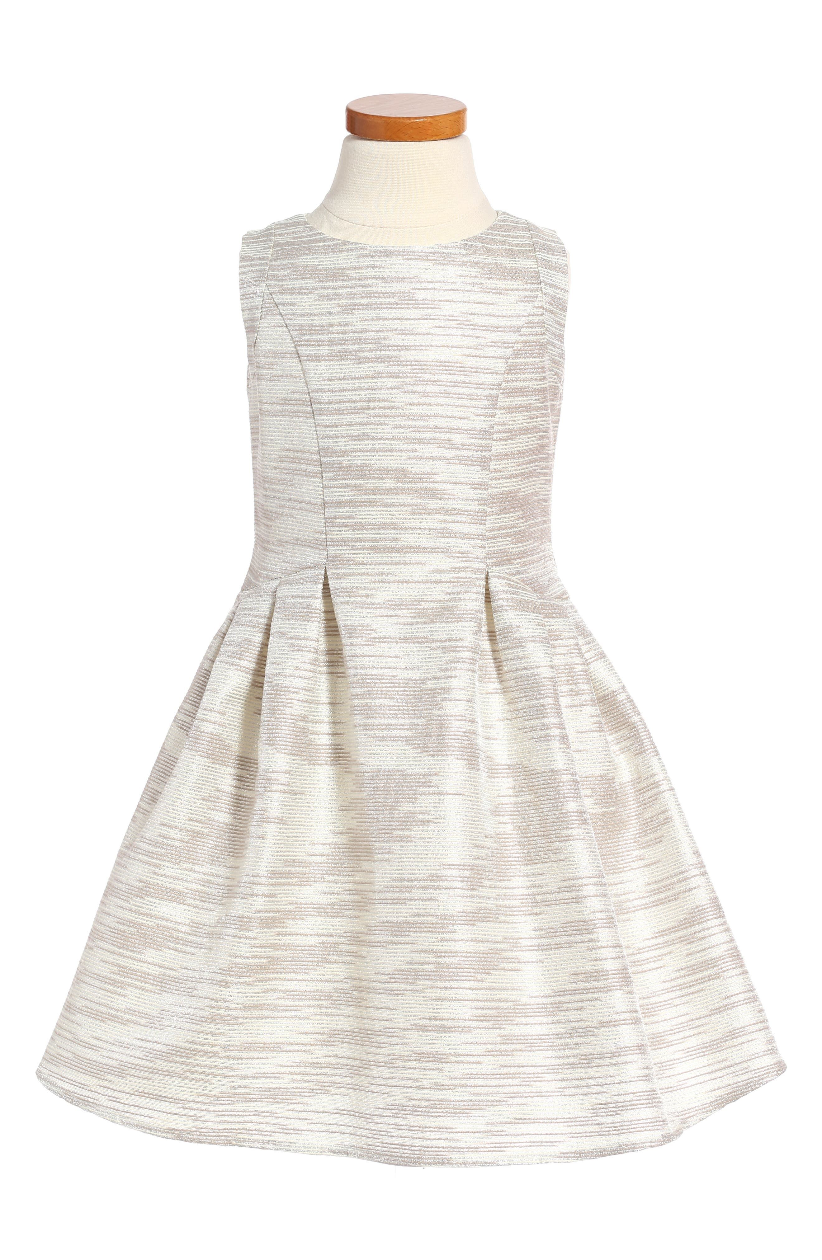 Little Angels Stripe Brocade Sleeveless Dress (Toddler Girls & Little Girls)