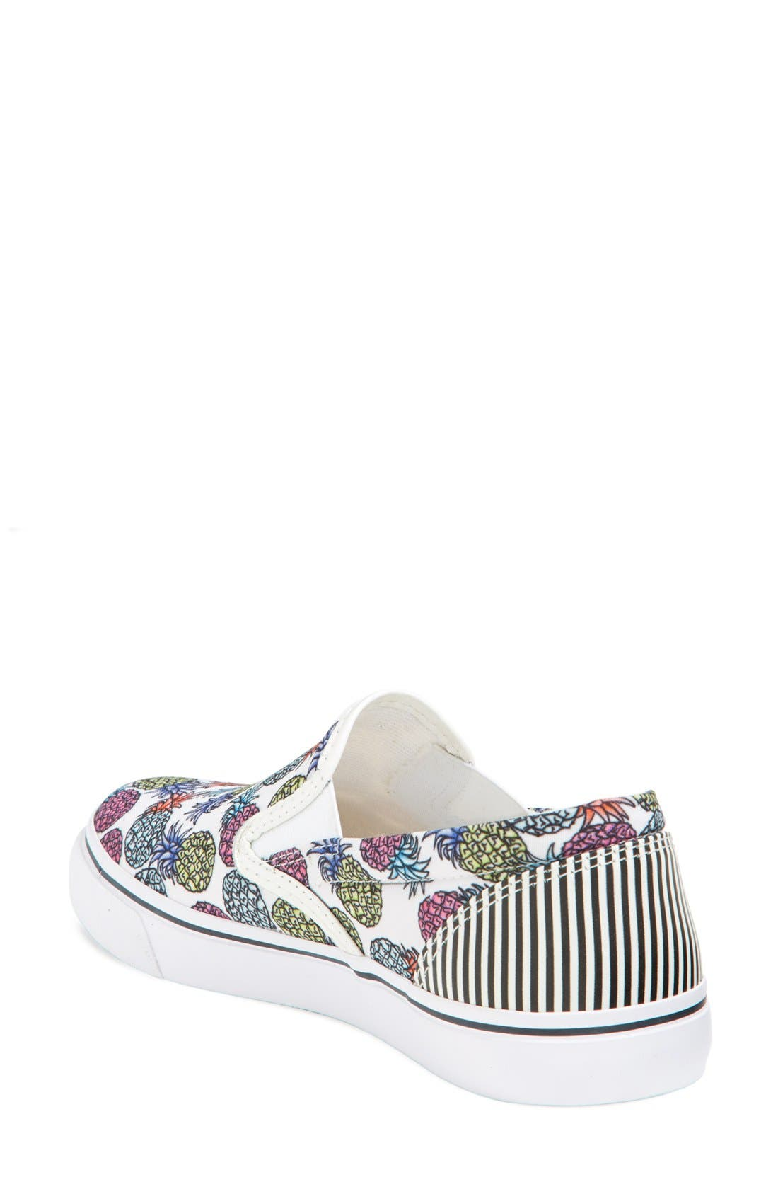'Adele - Pineapple' Satin Slip-On Sneaker,                             Alternate thumbnail 2, color,                             Pineapple White