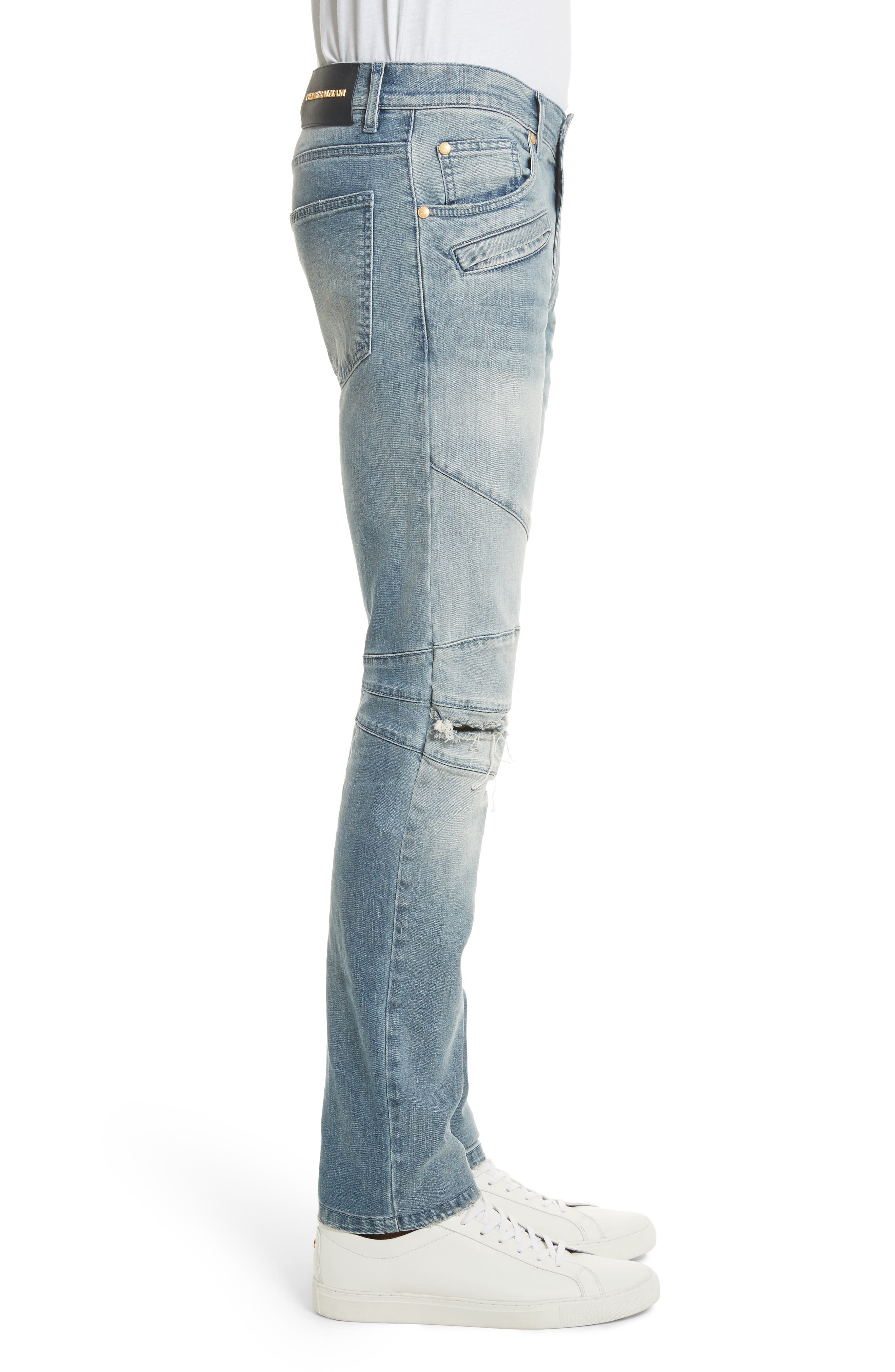 Slit Knee Jeans,                             Alternate thumbnail 3, color,                             Blue Denim