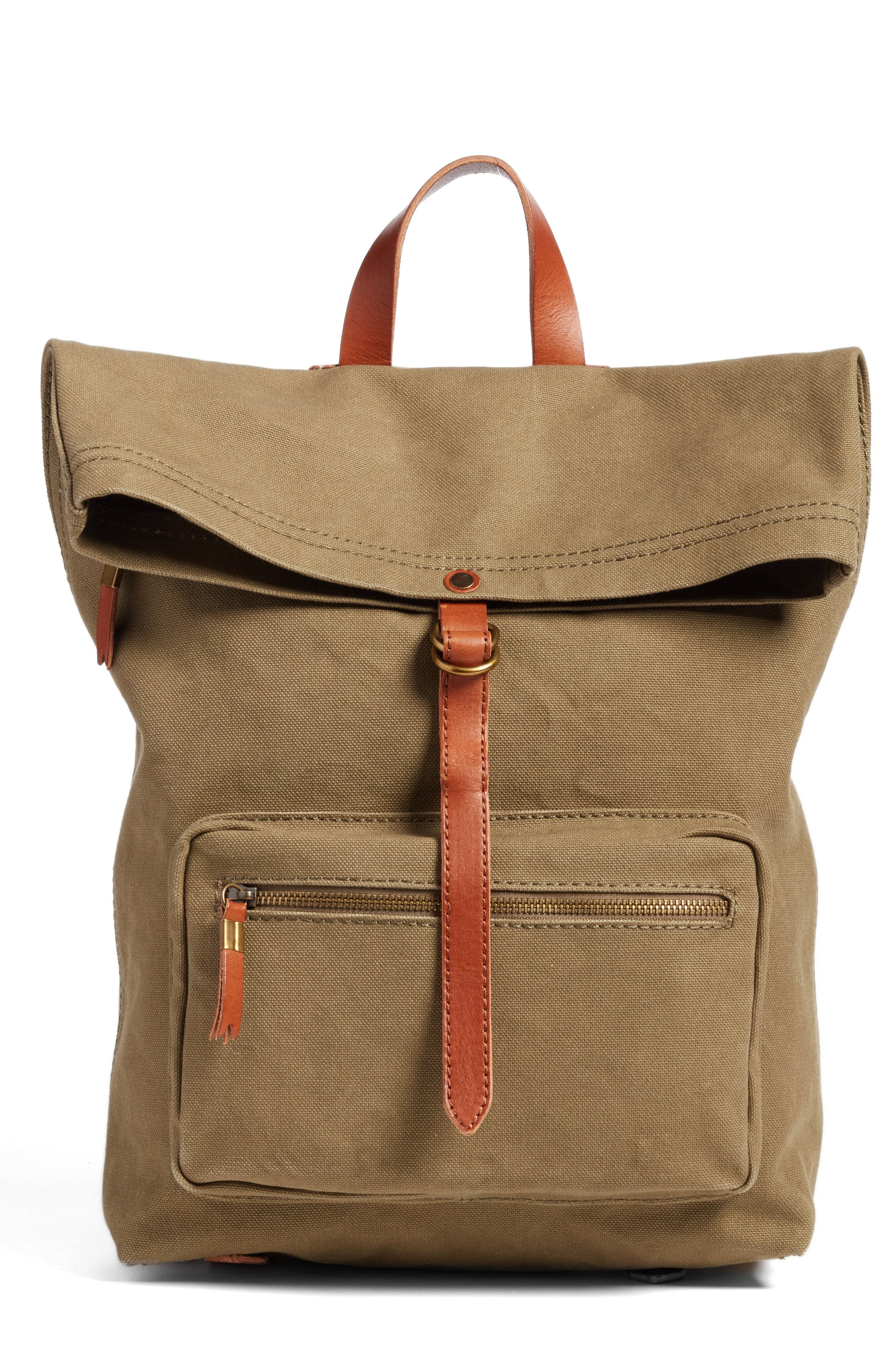 The Canvas Foldover Backpack,                             Main thumbnail 1, color,                             British Surplus
