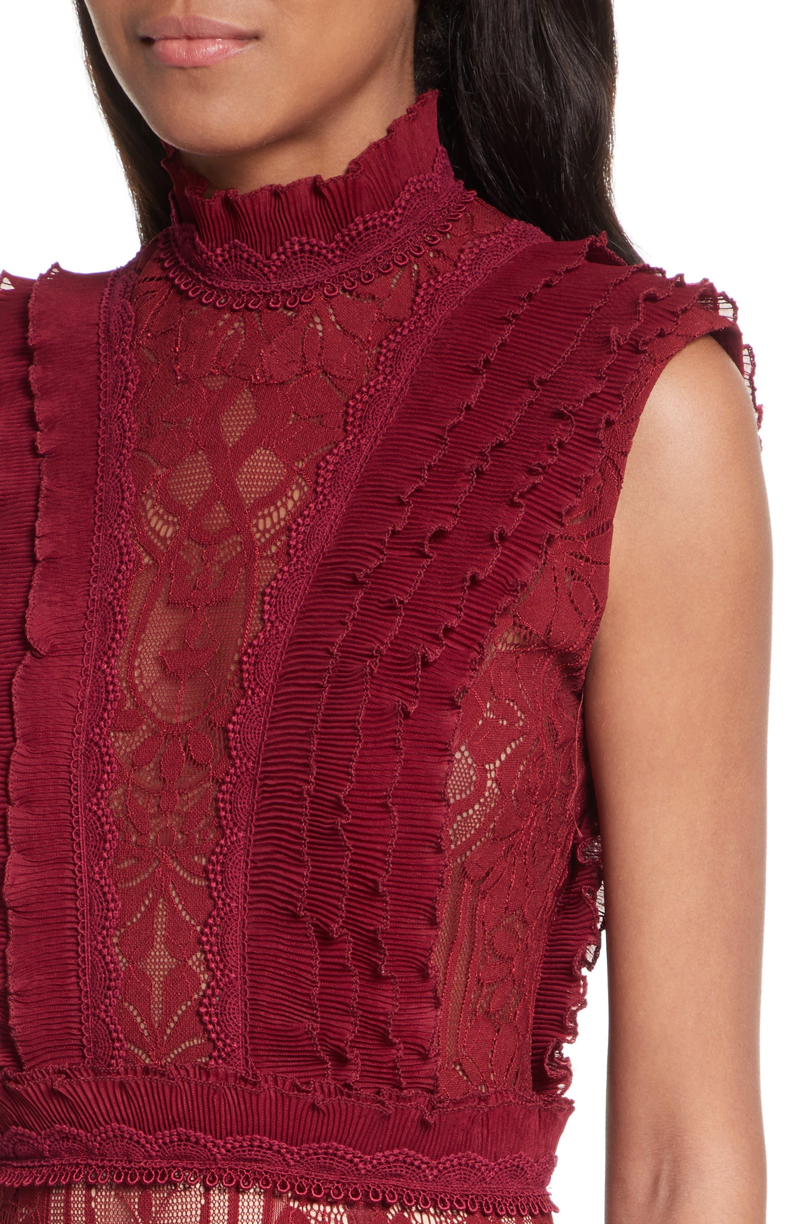 Tower Mesh Lace Ruffled Dress,                             Alternate thumbnail 4, color,                             Cabernet