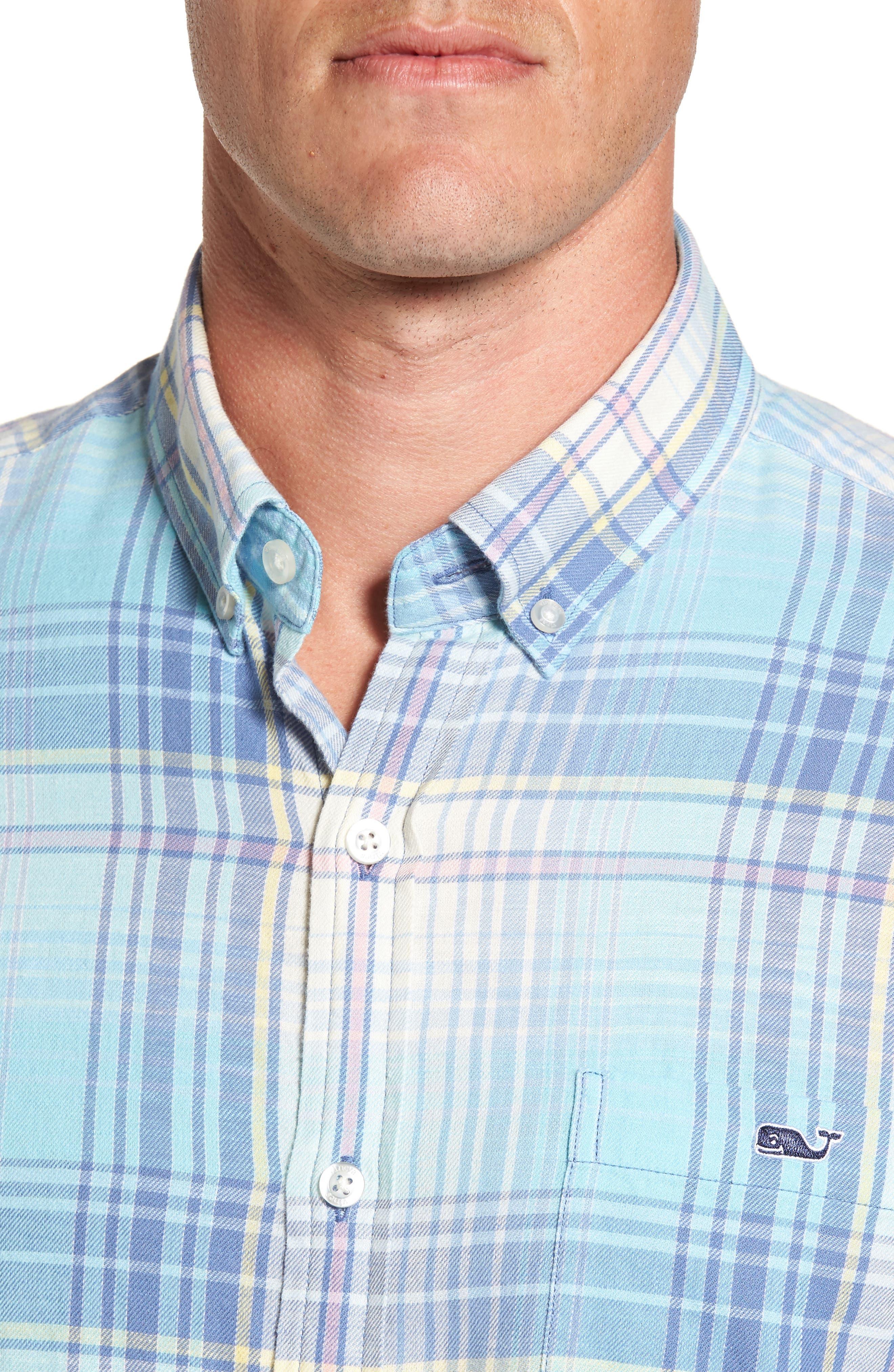 Alternate Image 4  - vineyard vines Pequot Plaid Slim Fit Tucker Sport Shirt
