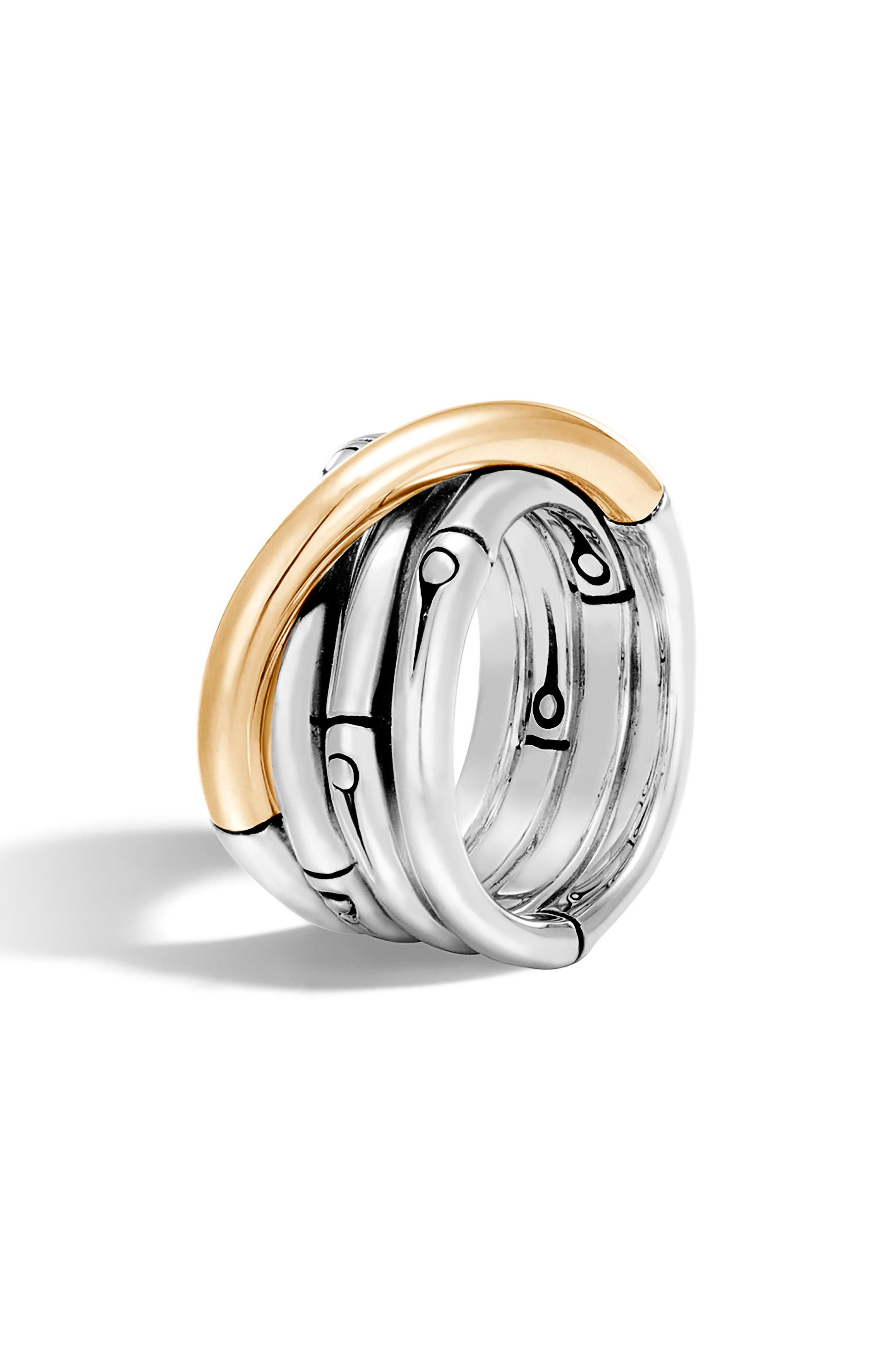 Bamboo Ring,                             Alternate thumbnail 3, color,                             Silver/ Gold