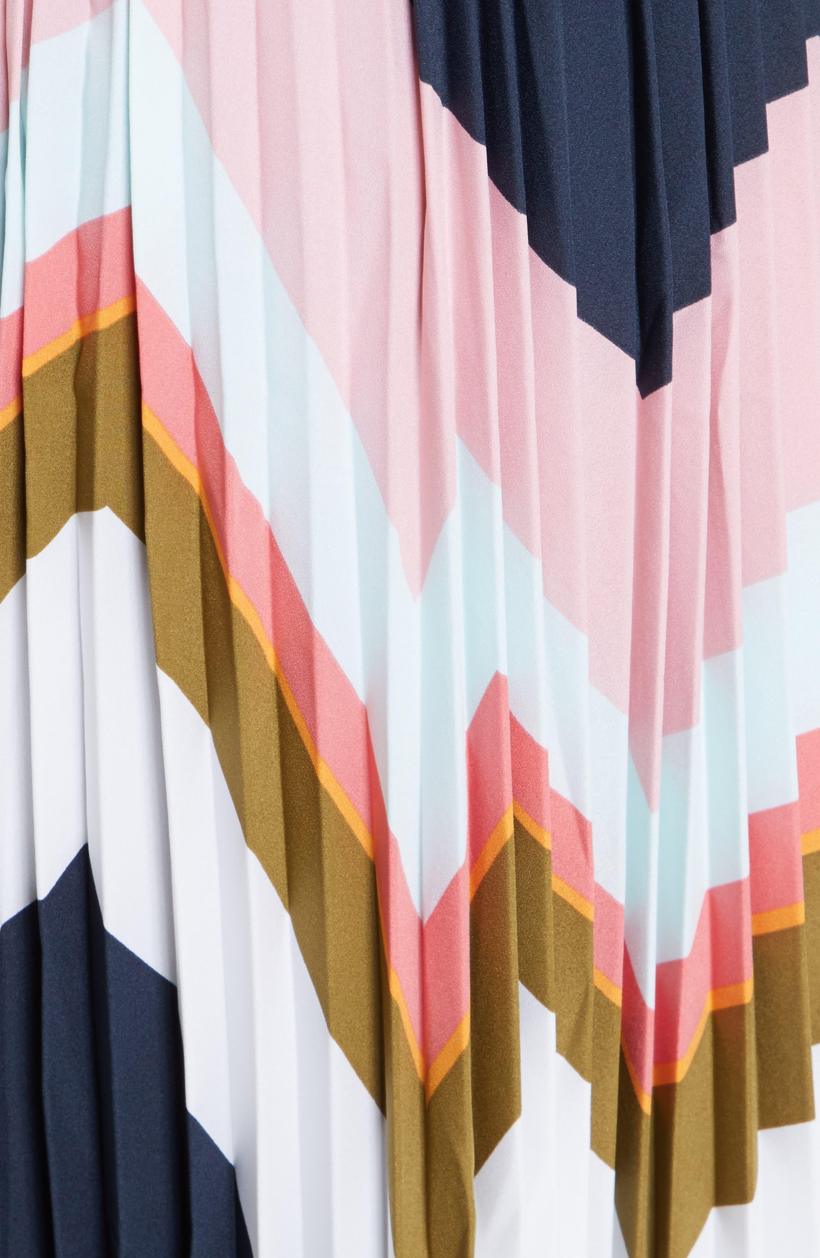 Evianna Mississippi Print Pleated Skirt,                             Alternate thumbnail 5, color,                             Navy