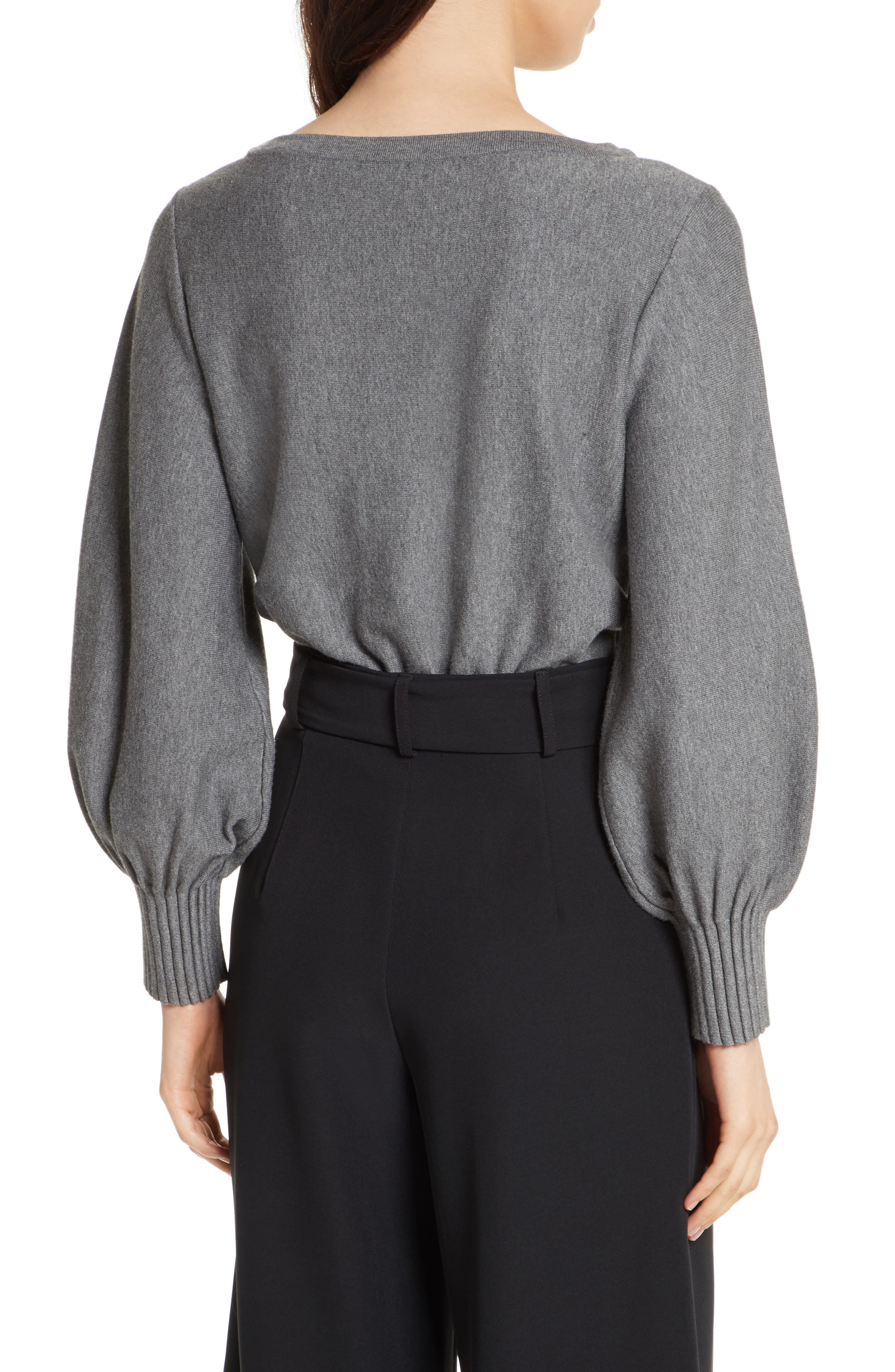 Couture Pintuck Pullover,                             Alternate thumbnail 3, color,                             Heather Grey