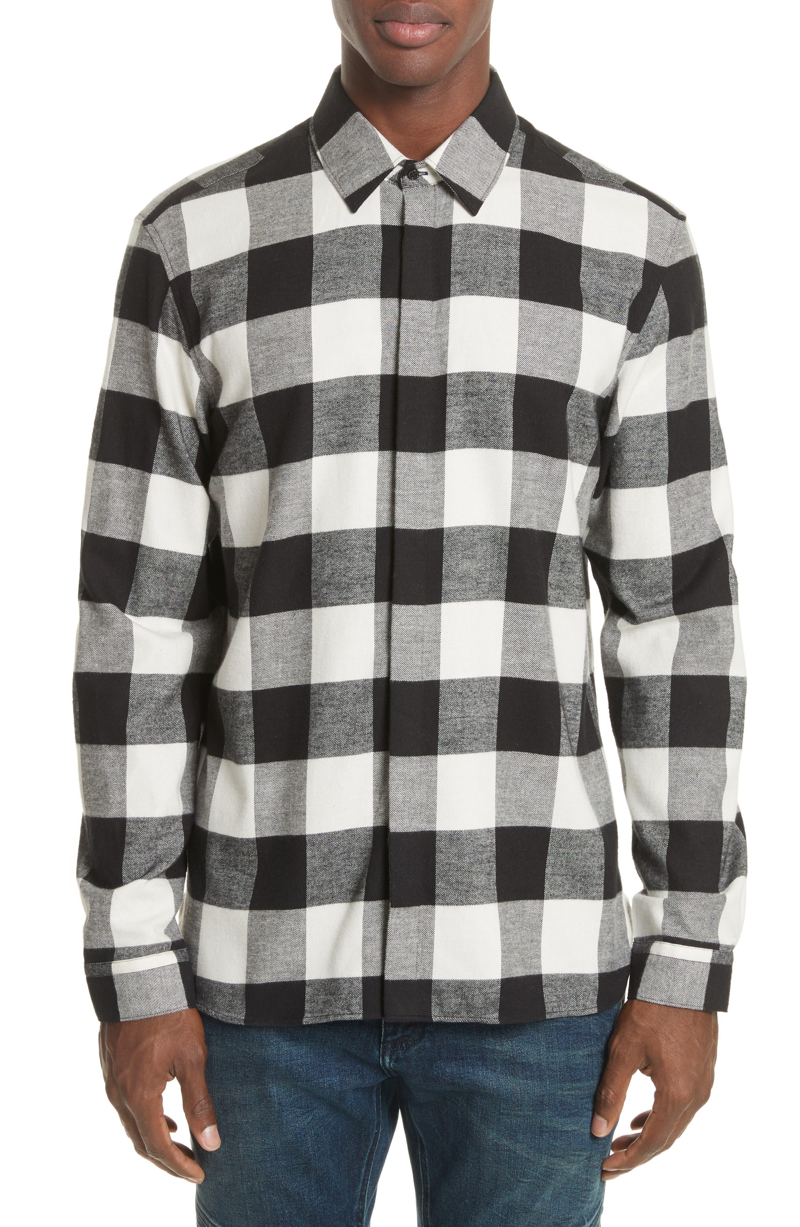 Live and Let Live Plaid Flannel Sport Shirt,                             Main thumbnail 1, color,                             Black/ Off White