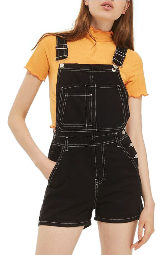 Topshop contrast stitch short overalls nordstrom for Womens denim shirts topshop