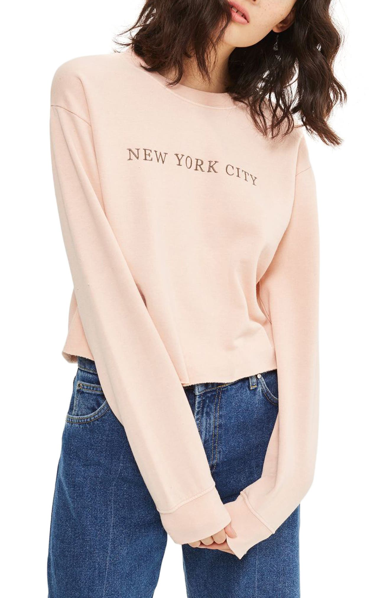 New York City Embroidered Sweatshirt,                             Alternate thumbnail 4, color,                             Pink