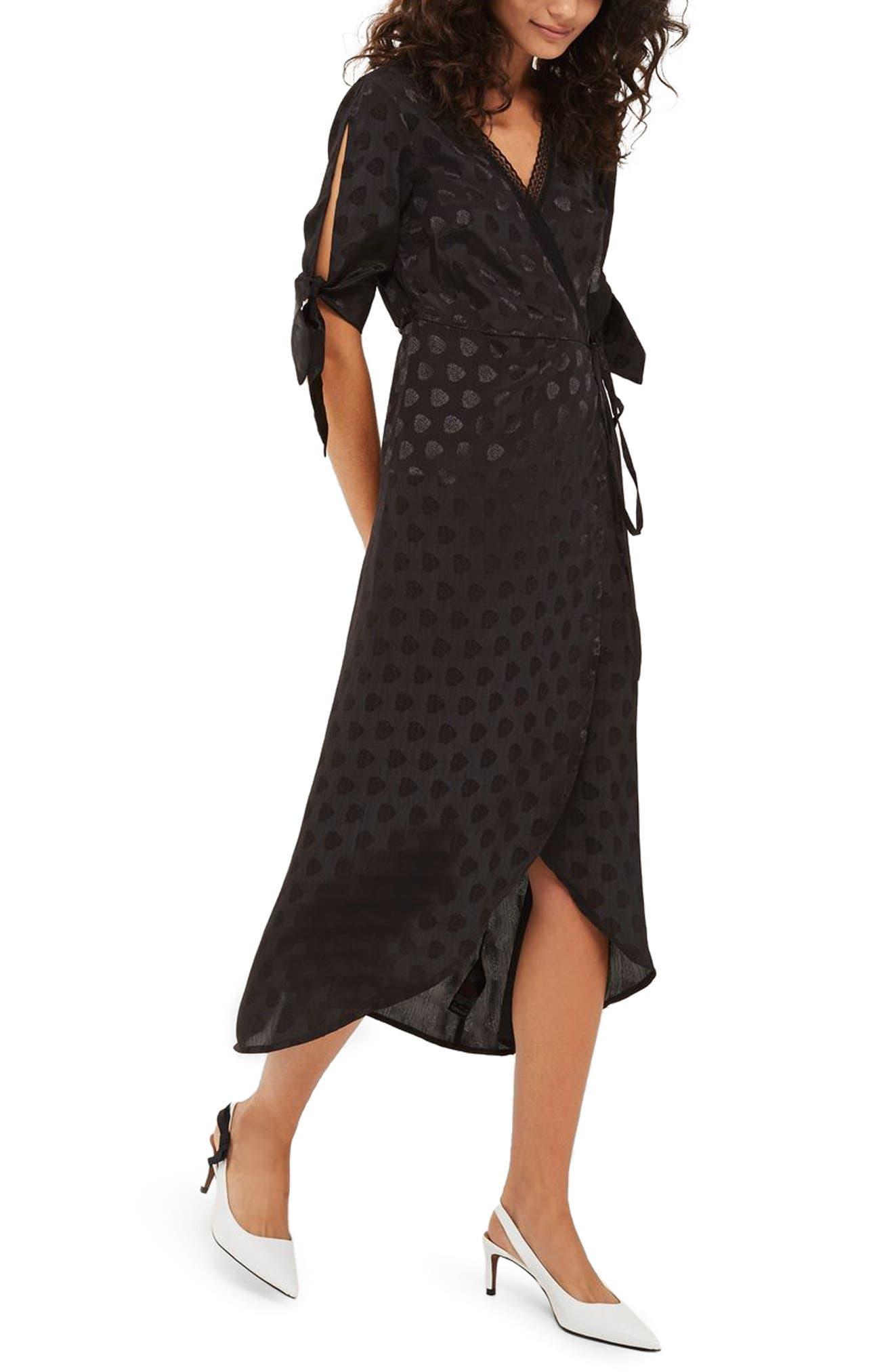 Jacquard Wrap Midi Dress,                         Main,                         color, Black