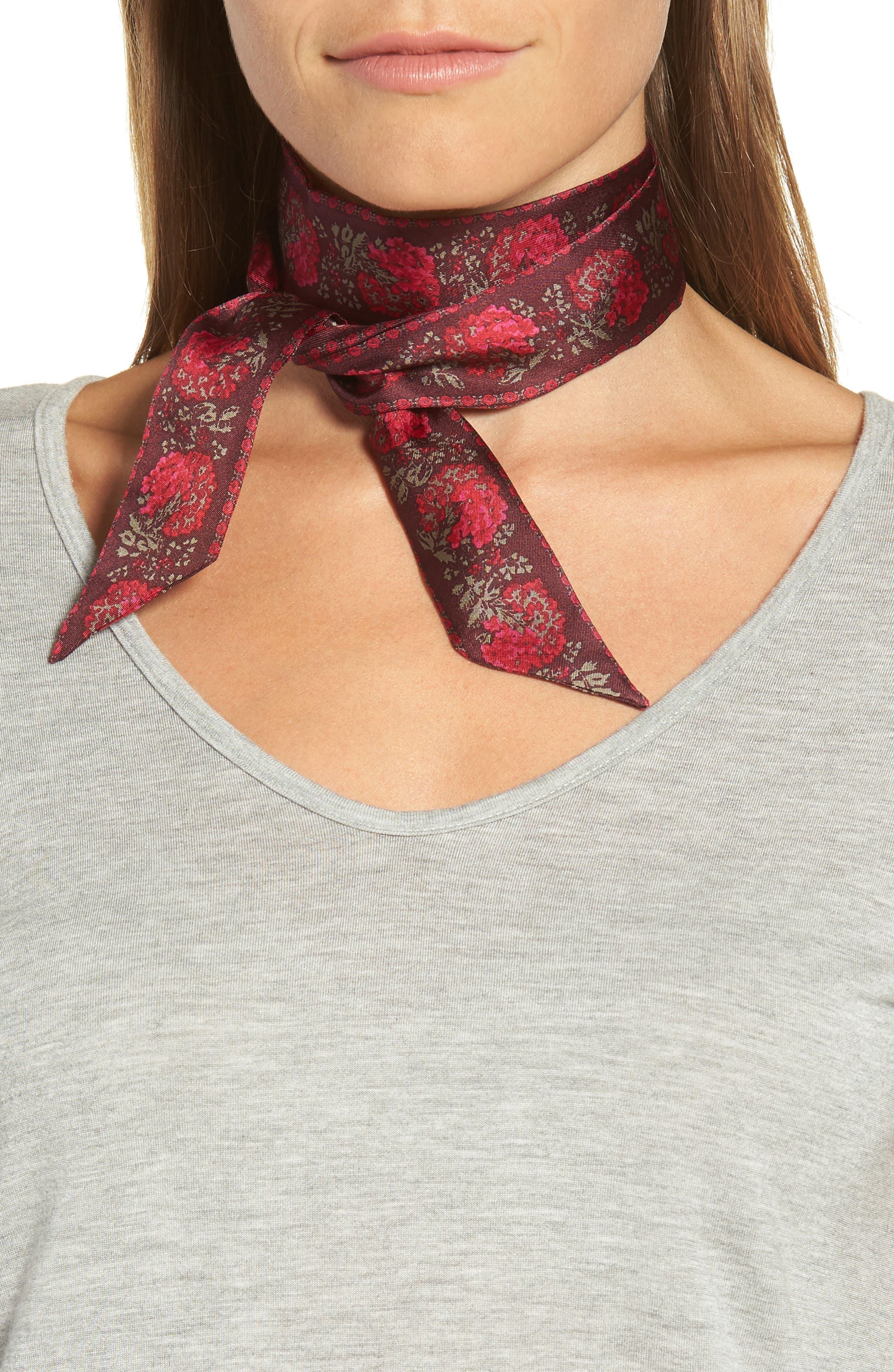 Floral Silk Mini Scarf,                         Main,                         color, Dark Mulberry
