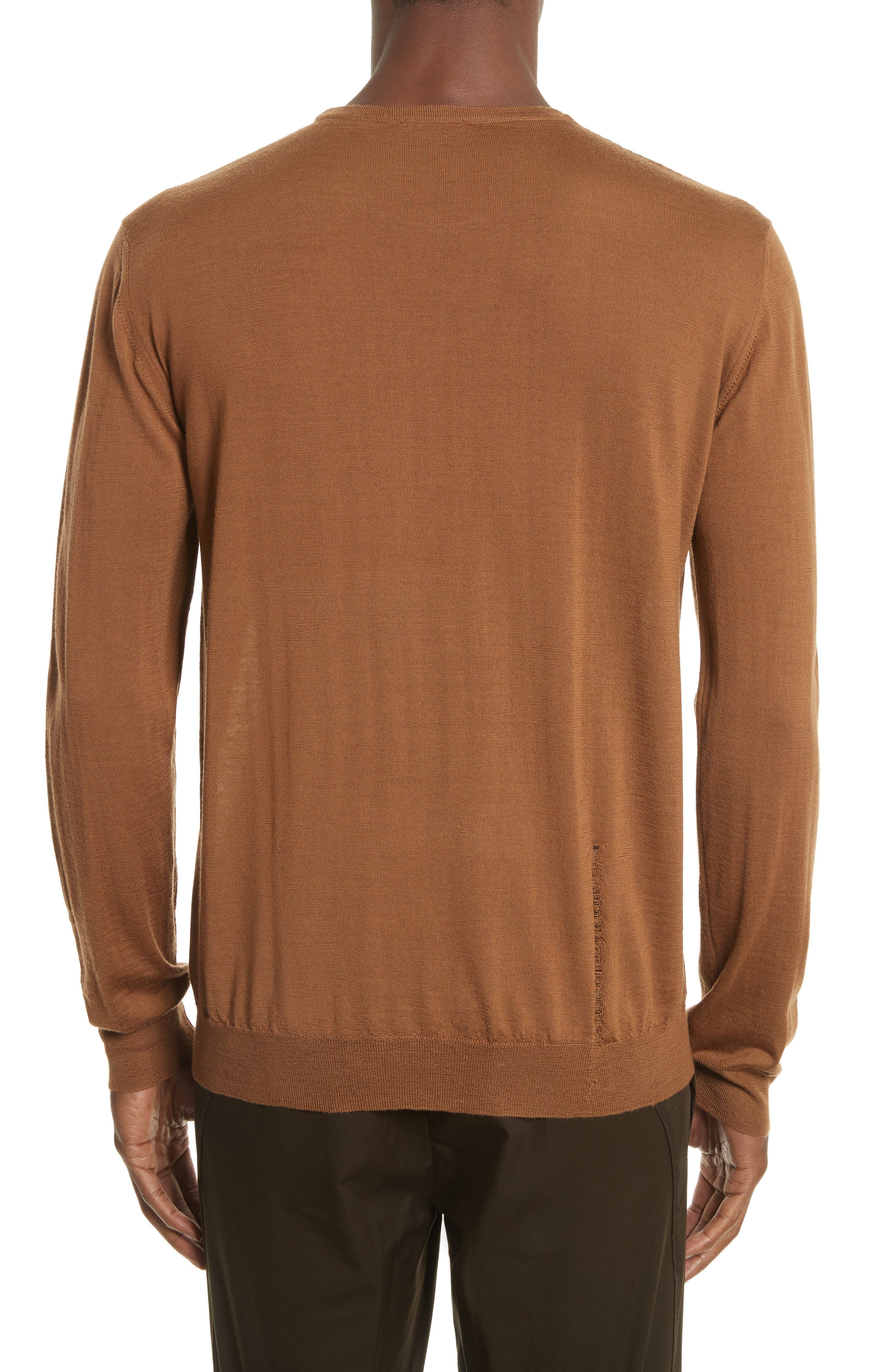 Open Stitch Wool Sweater,                             Alternate thumbnail 2, color,                             Camel