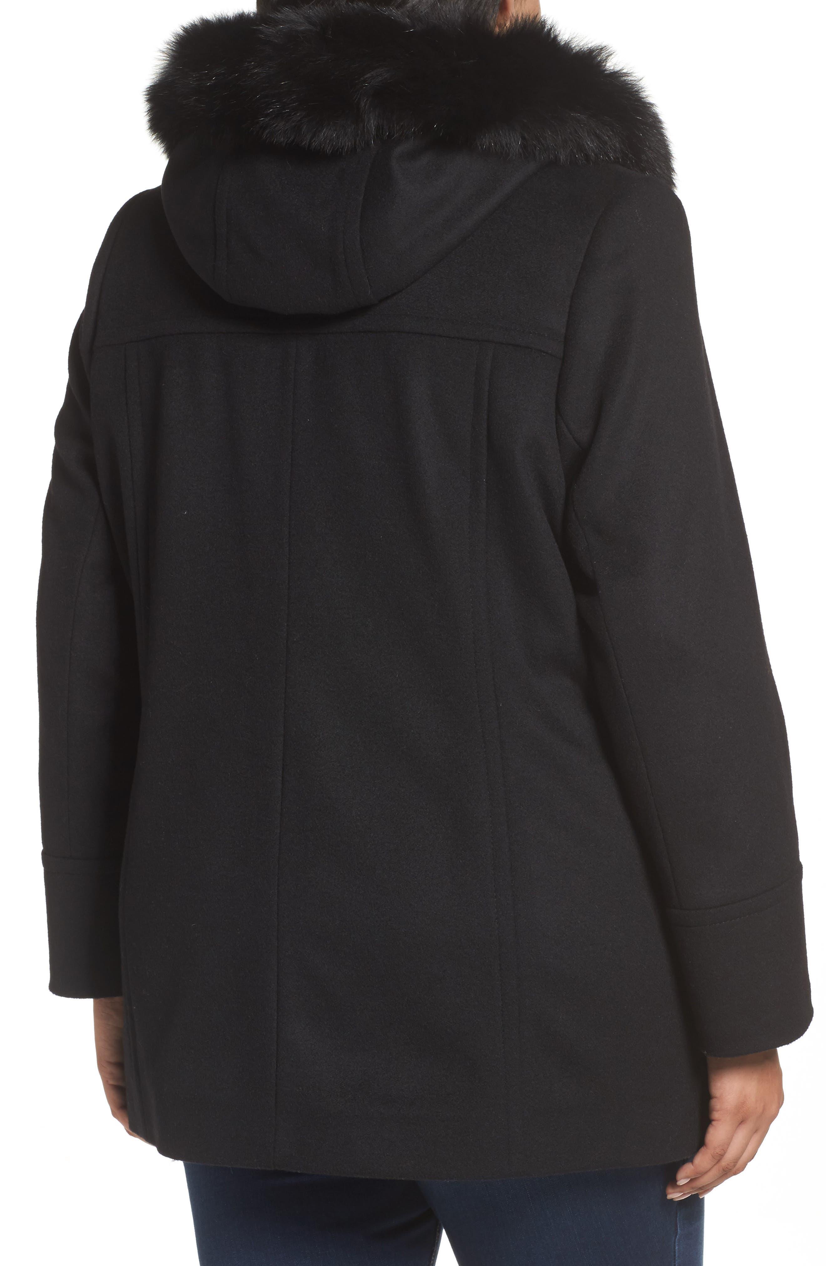 Alternate Image 2  - Sachi Hooded Wool Blend Coat with Genuine Fox Fur Trim (Regular & Petite)
