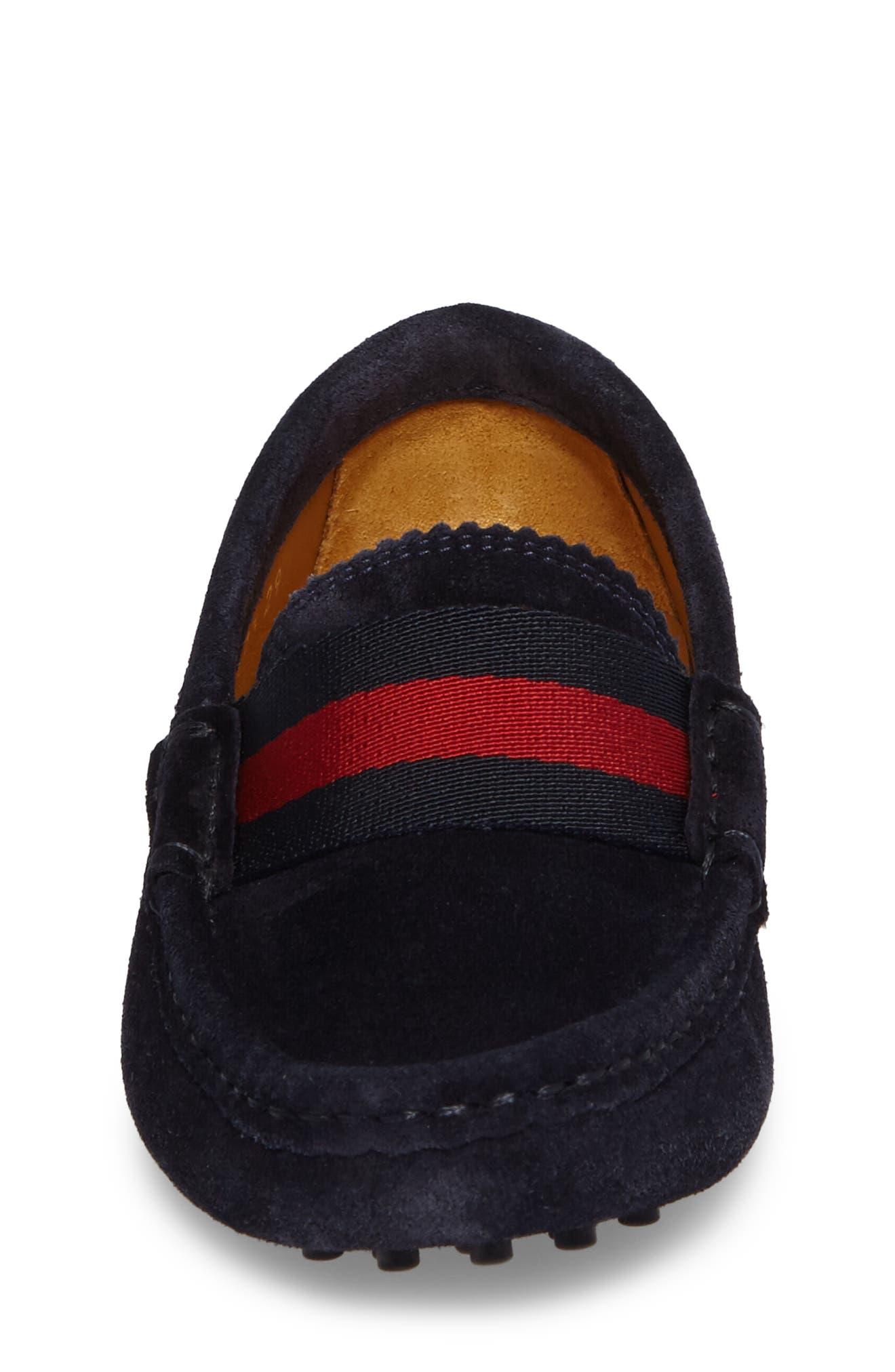 Dandy Junior Driving Shoe,                             Alternate thumbnail 4, color,                             Blue Suede