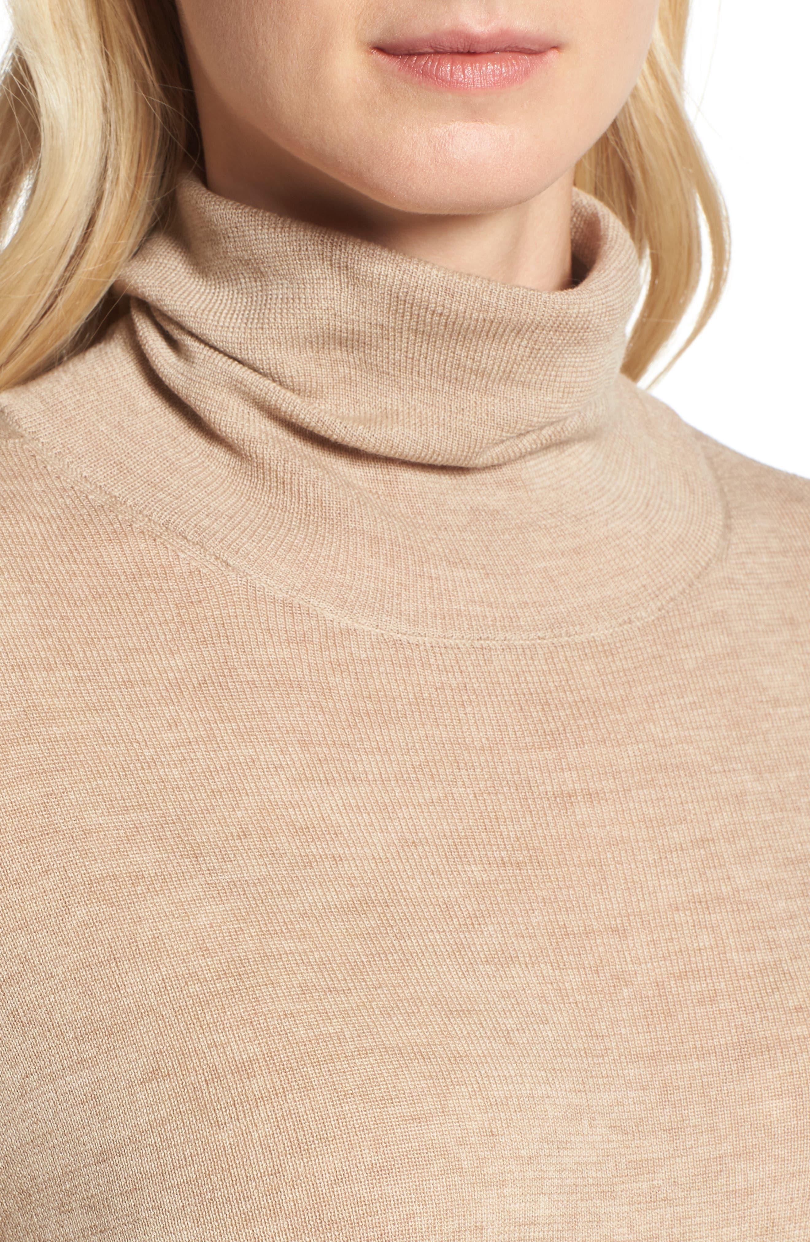 The Fisher Project Ultrafine Merino Turtleneck Sweater,                             Alternate thumbnail 4, color,                             Maple Oat