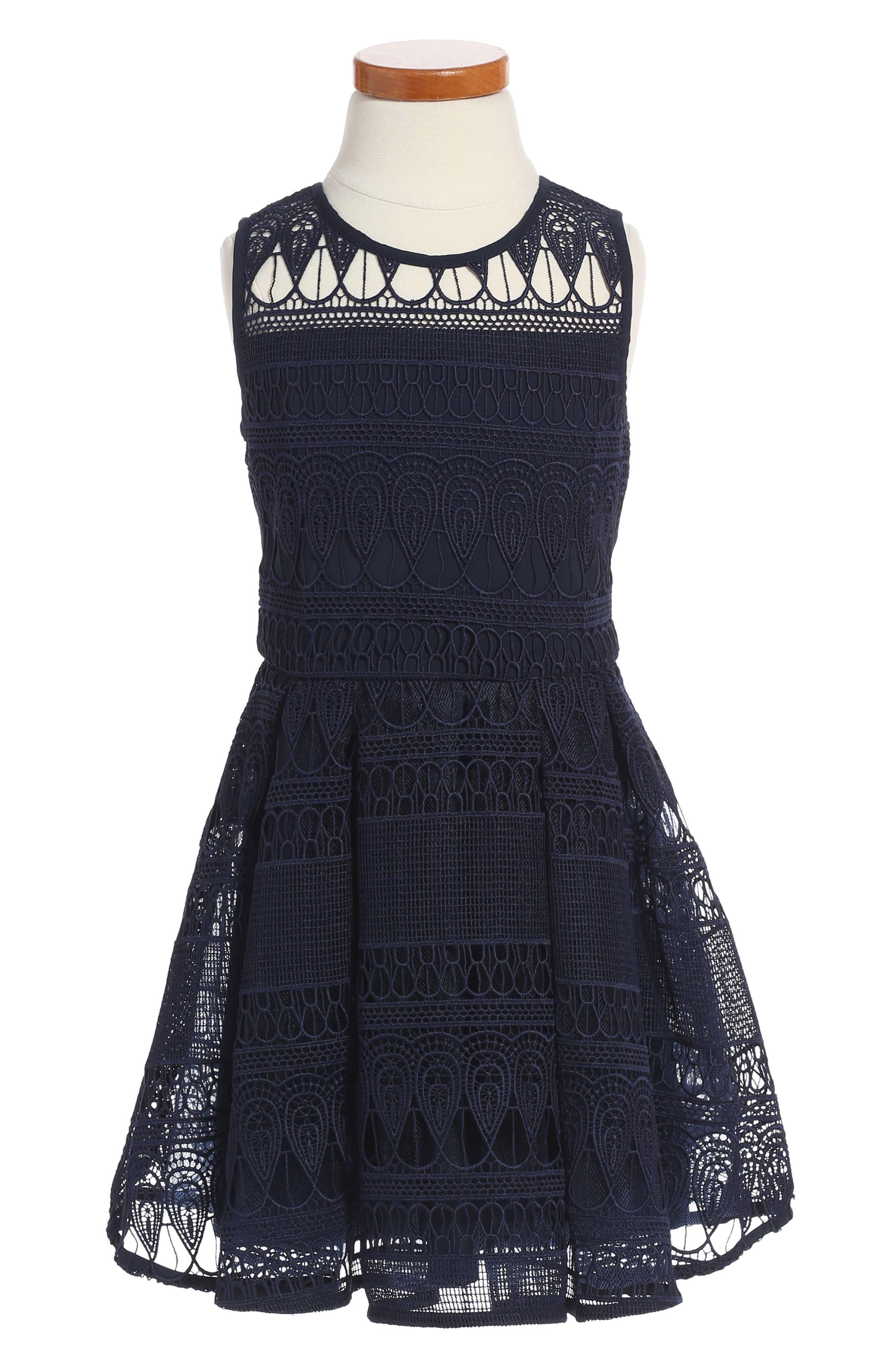 Junior Linear Lace Dress,                         Main,                         color, Navy