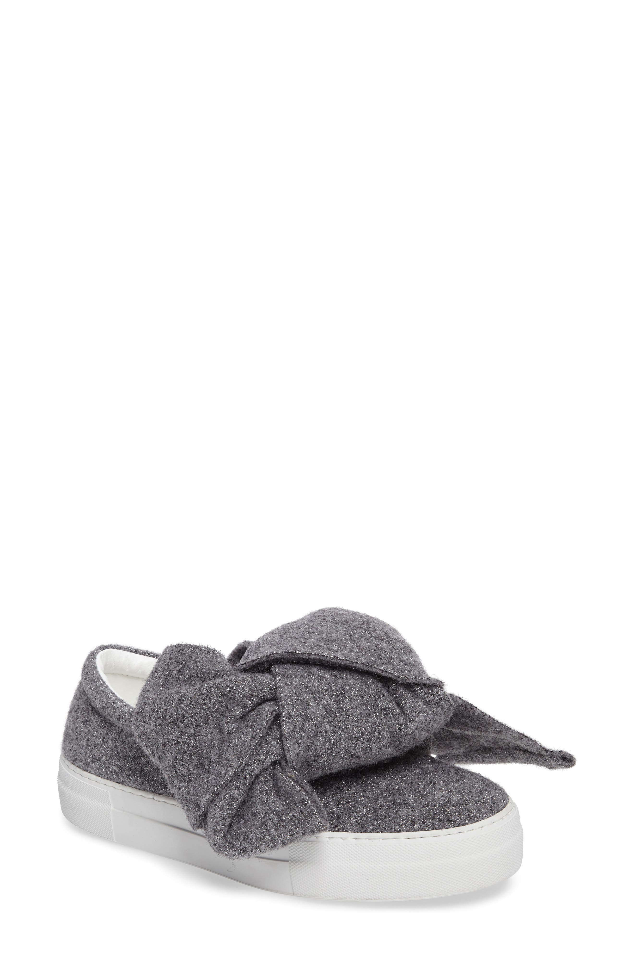 Bow Slip-On Sneaker,                             Main thumbnail 1, color,                             Grey Lurex Felt