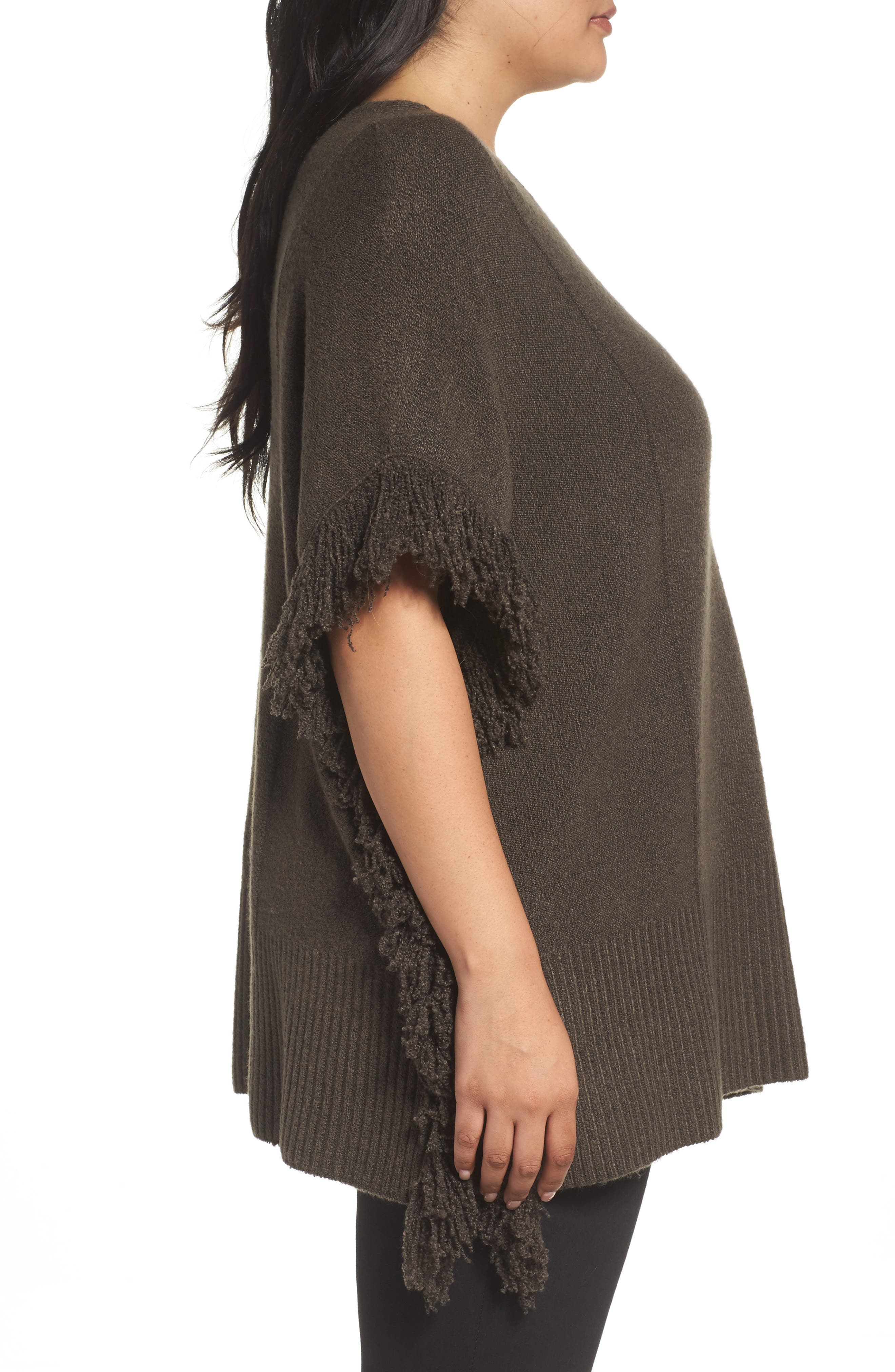 Alternate Image 4  - Sejour Fringe Poncho Sweater (Plus Size)