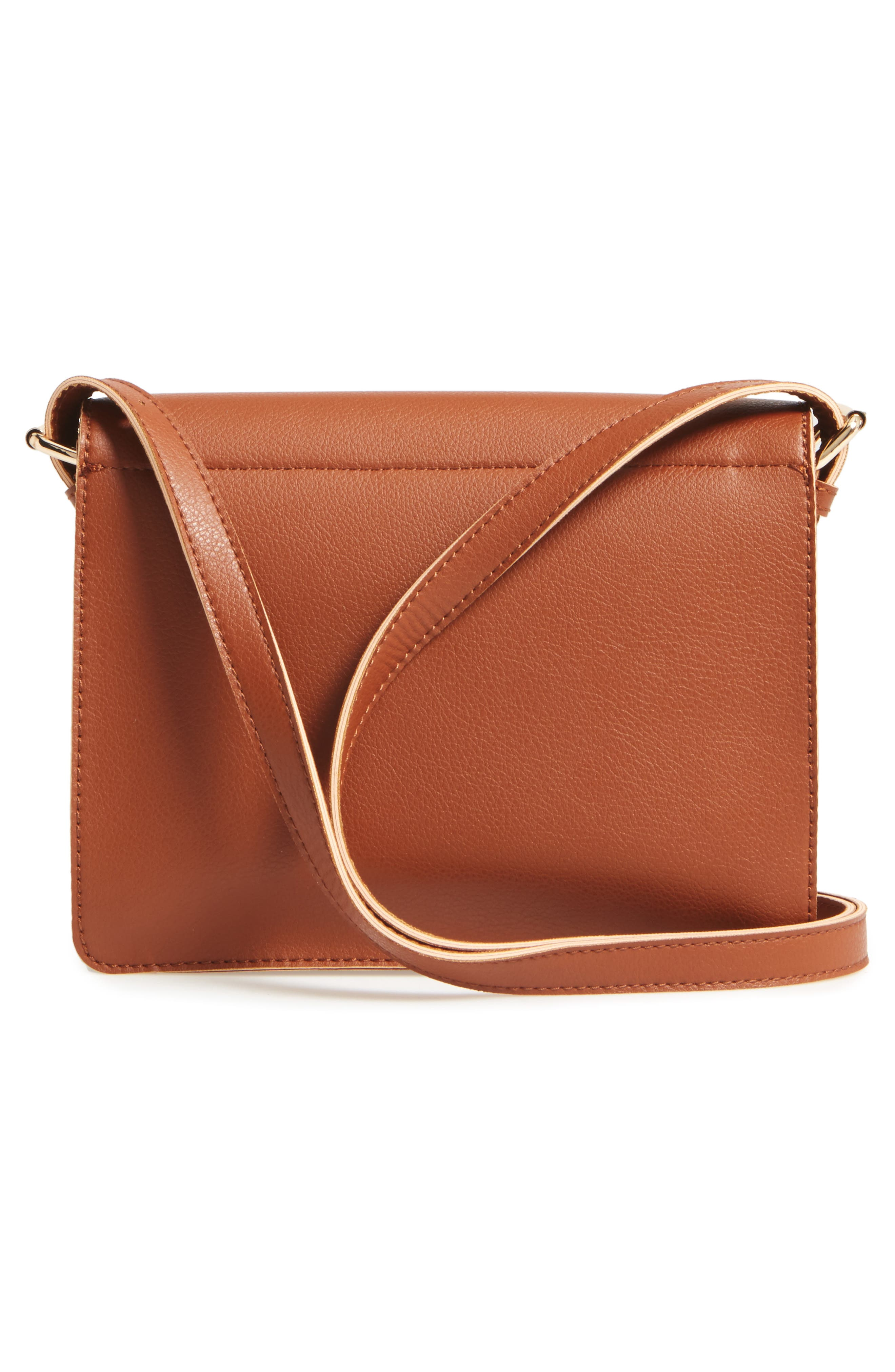 'Michelle' Faux Leather Crossbody Bag,                             Alternate thumbnail 3, color,                             New Cognac